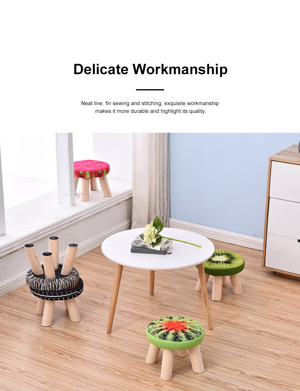 Simple Fruit Patterns Footstool with Solid Wooden Legs Small Round Fabric Ottoman for Home Decoration 2