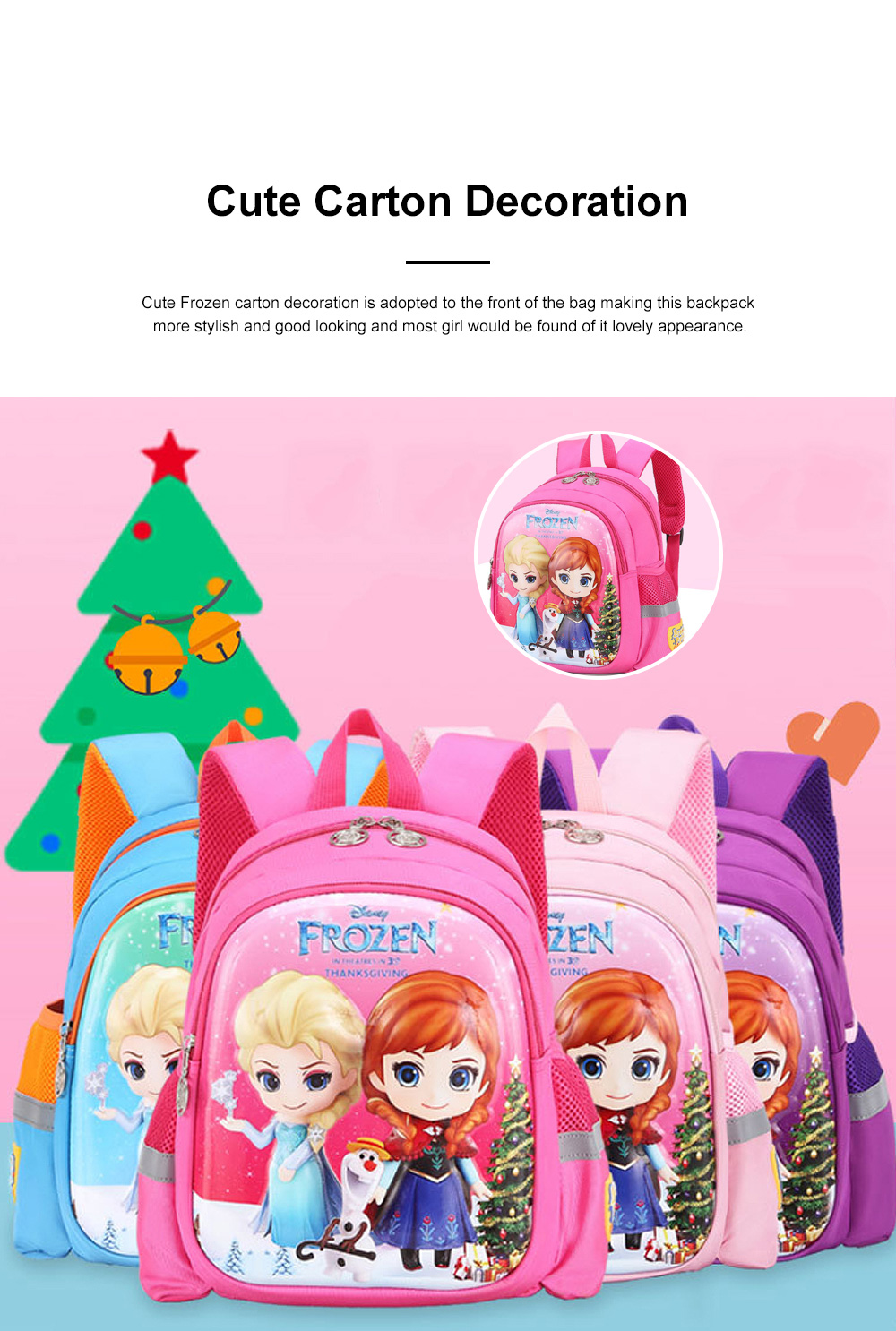 Cute Frozen Cartoon Pattern Children Backpack with Prevent Lost Band, Water-proof Oxford Cloth Kindergarten Shoulders Bag for Kids 1