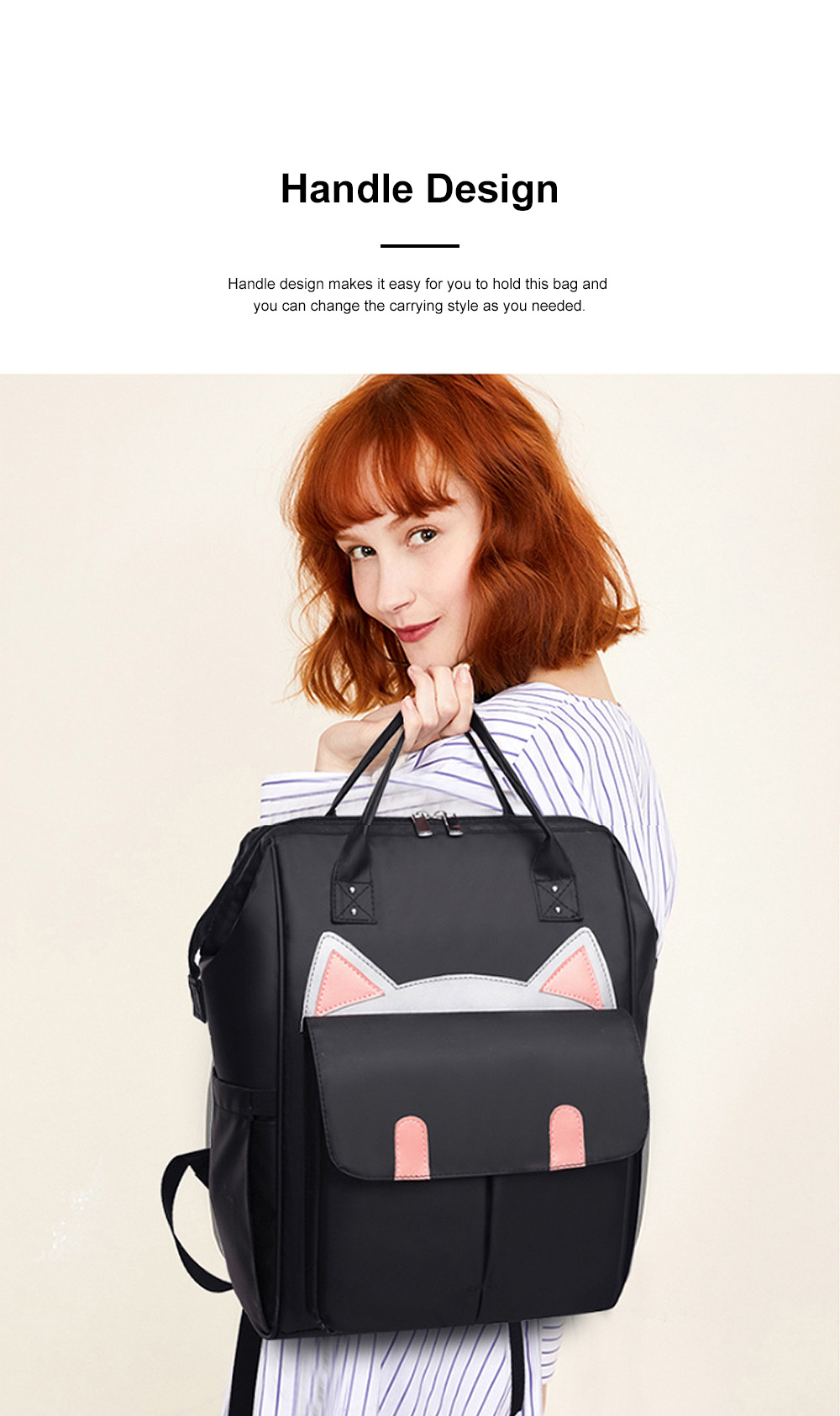 Large Capacity Multifunctional Mummy Backpack, Waterproof Oxford Cloth Napkin Shoulder Bag for Mother 3