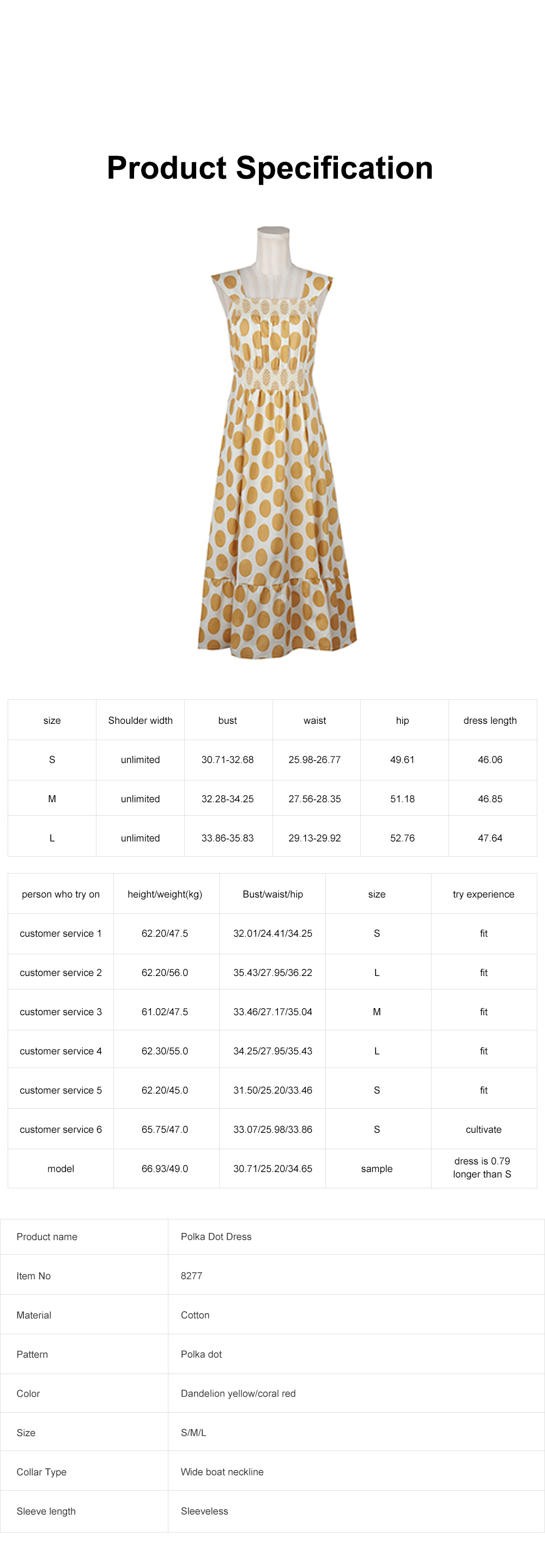 French Style Women's Casual Polka Dot Sleeveless Long Dress High Waist and Wide Boat Neck 7