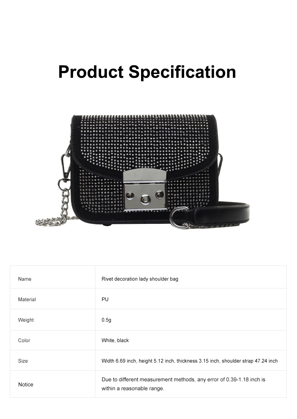 Fashion Fancy Shiny Lady Shoulder Bag with Rivet Decoration, Ultra-smooth PU Leather Chain Bag for Women 6