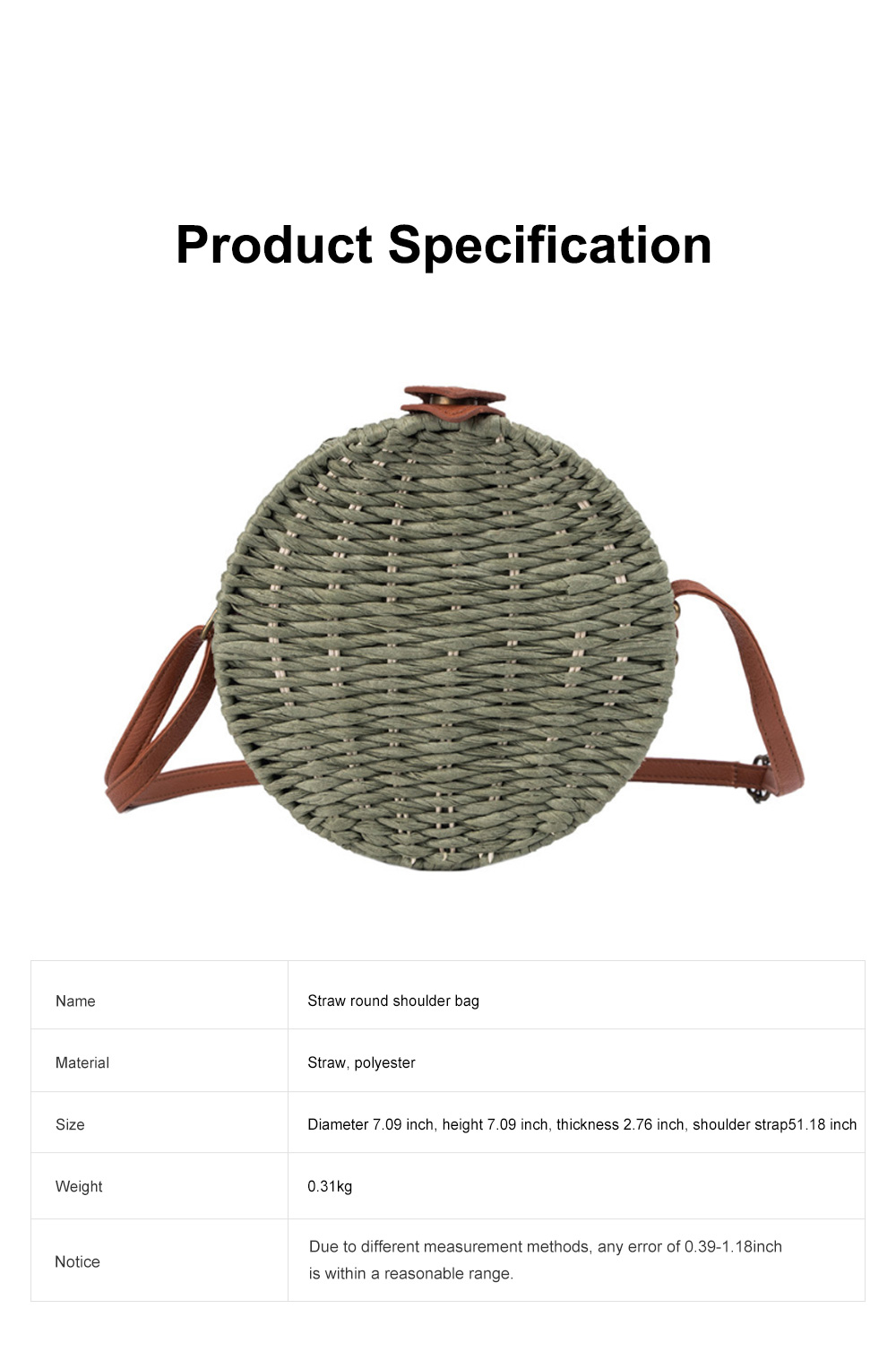 Simple Fancy Straw Shoulder Round Bag for Ladies, Beach Vacation Holiday National Style Women Shoulder Bag 6