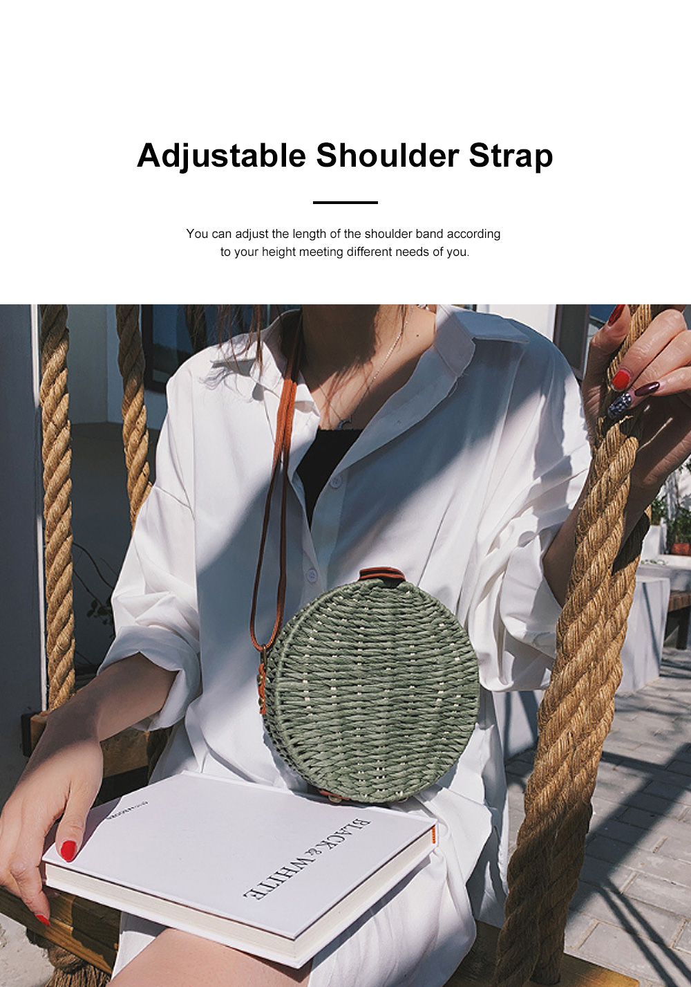 Simple Fancy Straw Shoulder Round Bag for Ladies, Beach Vacation Holiday National Style Women Shoulder Bag 1