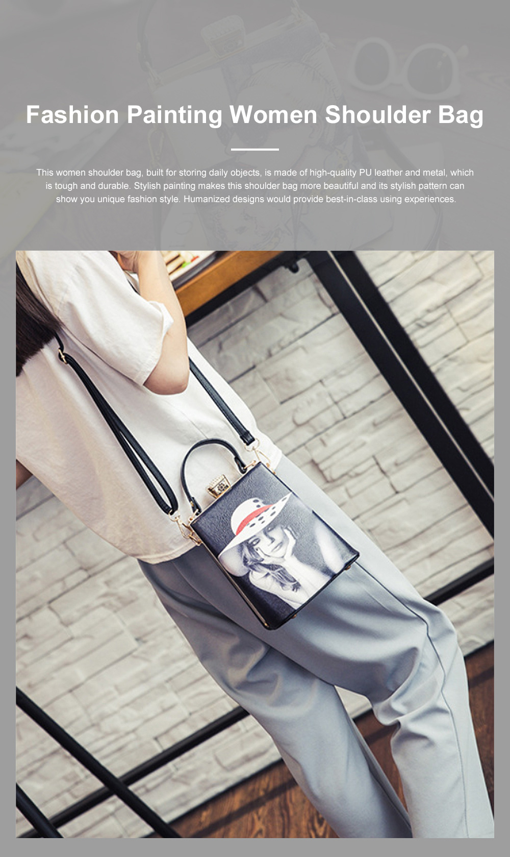 Fashion Painting Small Women Shoulder Bag with Comfortable Handle, Quality Smooth PU Leather Lady Bag 0