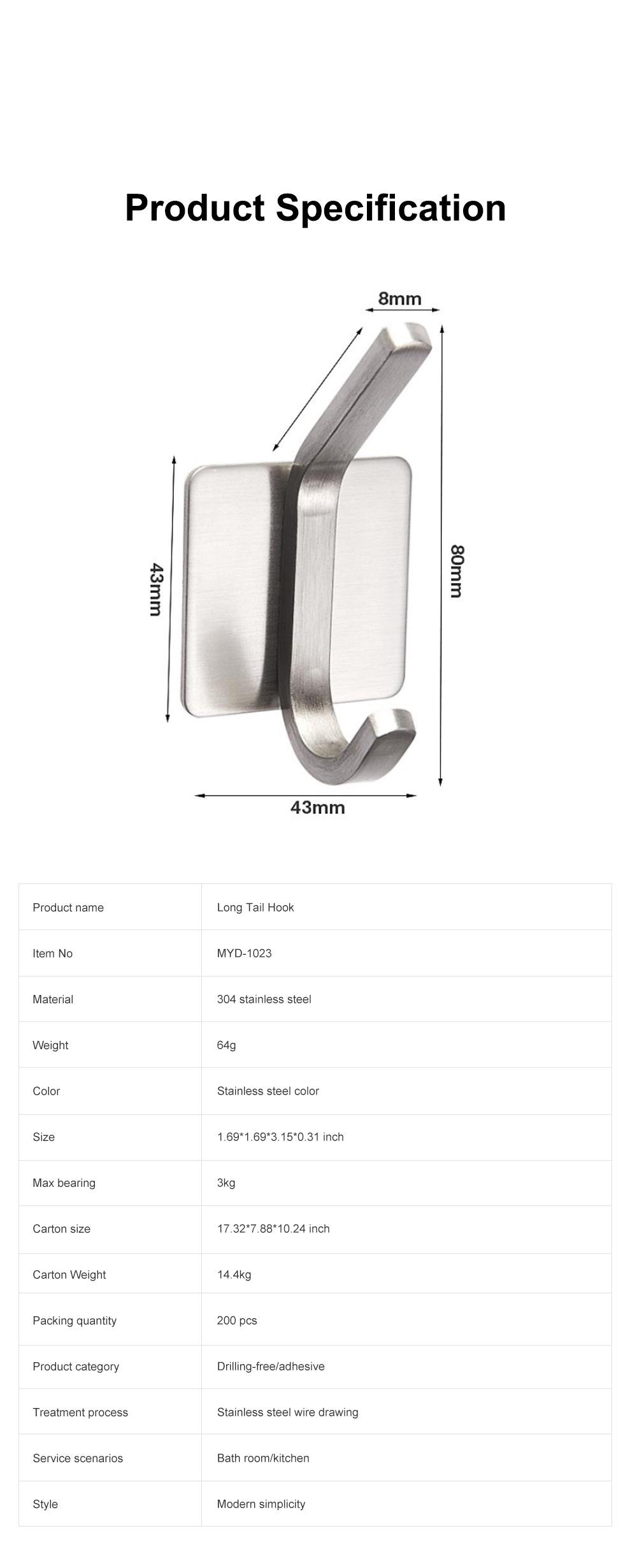 3M Glue Long Tail Hooks for Kitchen Bathroom Bedroom Hanging Waterproof 304 Stainless Steel Wall Hooks 7