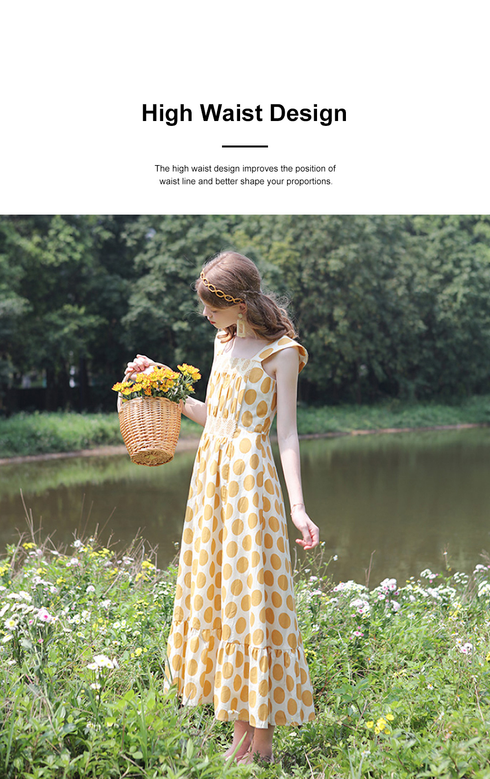 French Style Women's Casual Polka Dot Sleeveless Long Dress High Waist and Wide Boat Neck 3