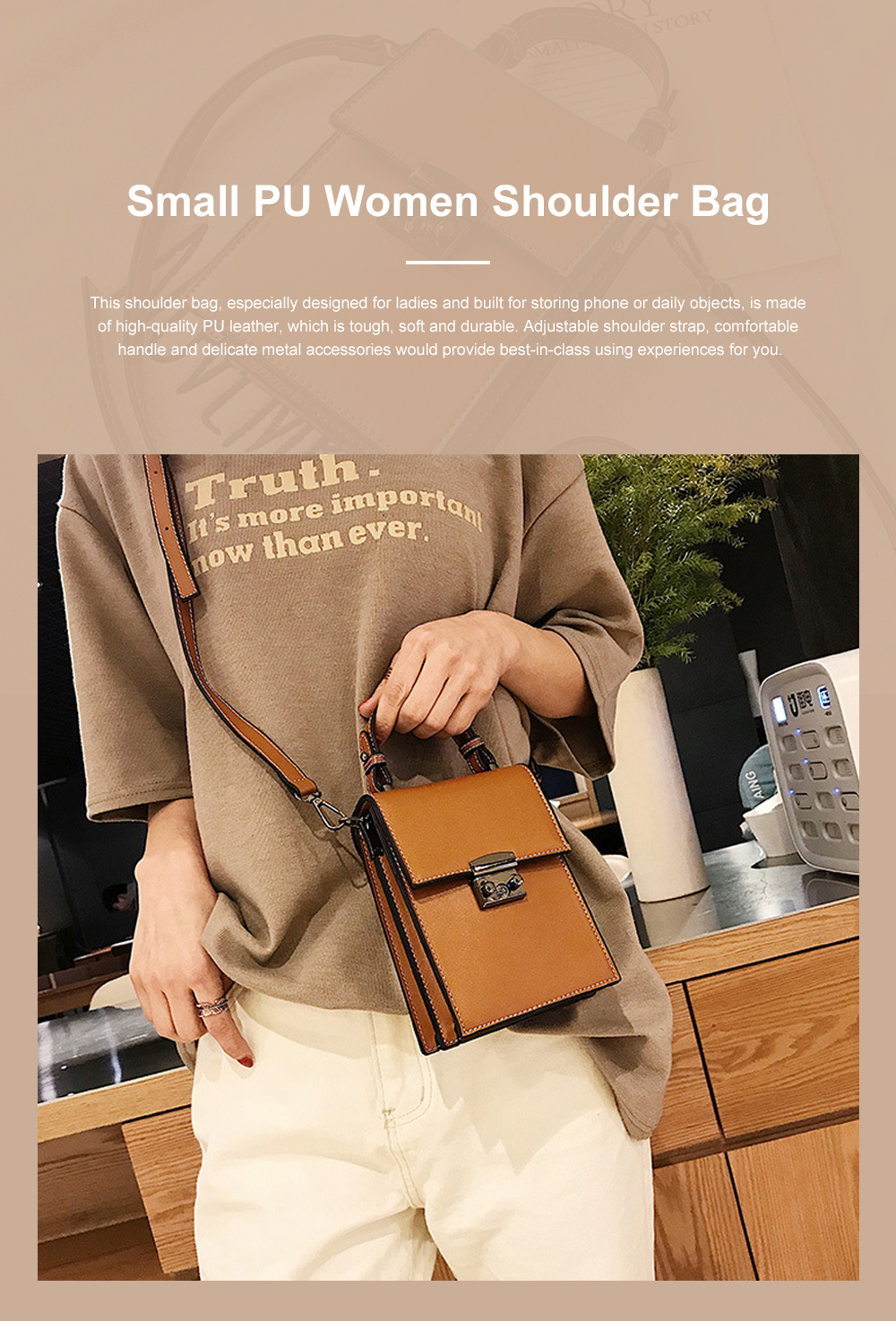 Minimalist Vintage Women Shoulder Slung Bag with Comfortable Handle Small Phone PU Leather Hand Bag for Ladies 0
