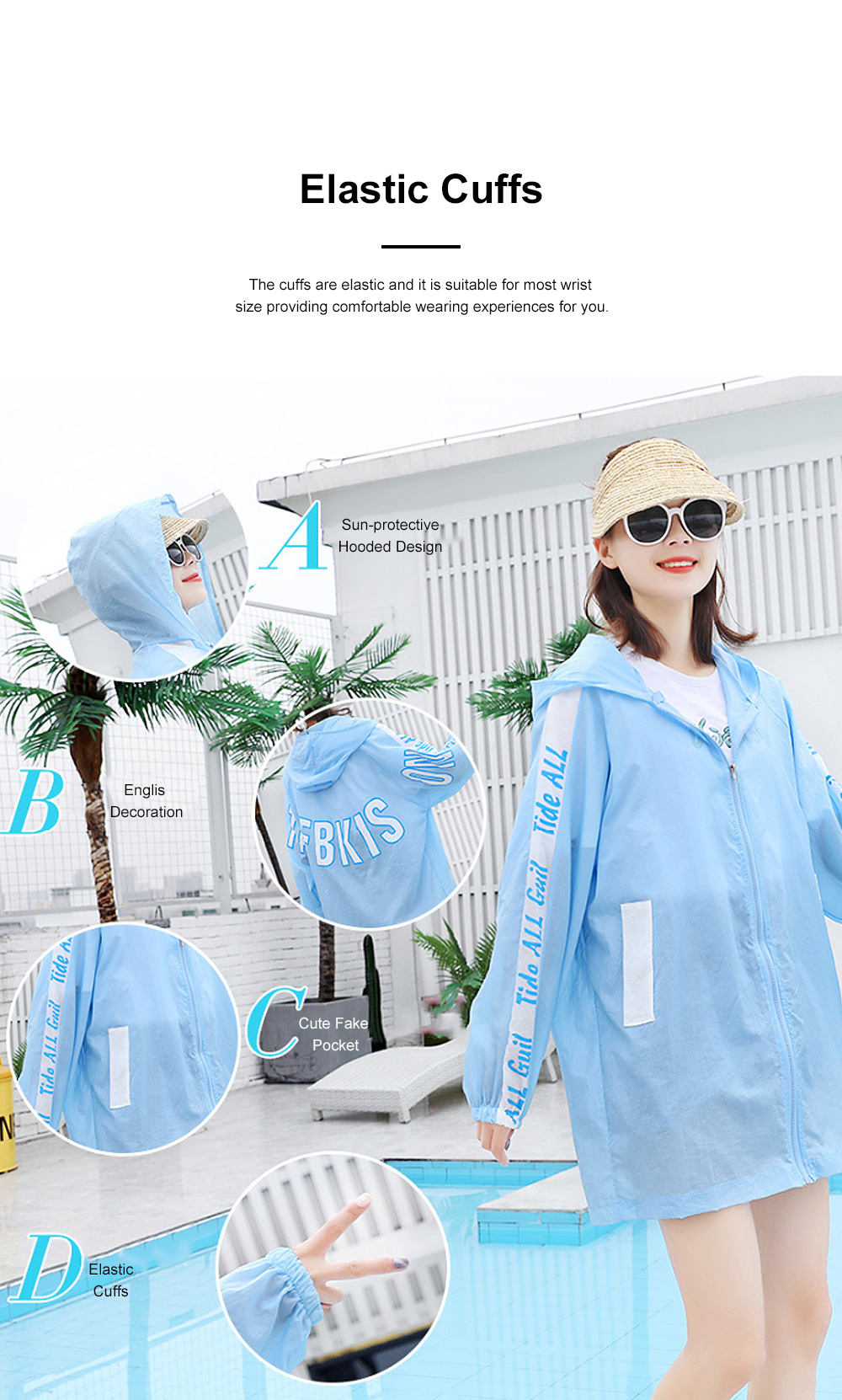 Stylish English Decoration Ultra-thin Sun-protective Clothing, Ultraviolet-Proof Quick Dry Outdoors Coat for Ladies 4
