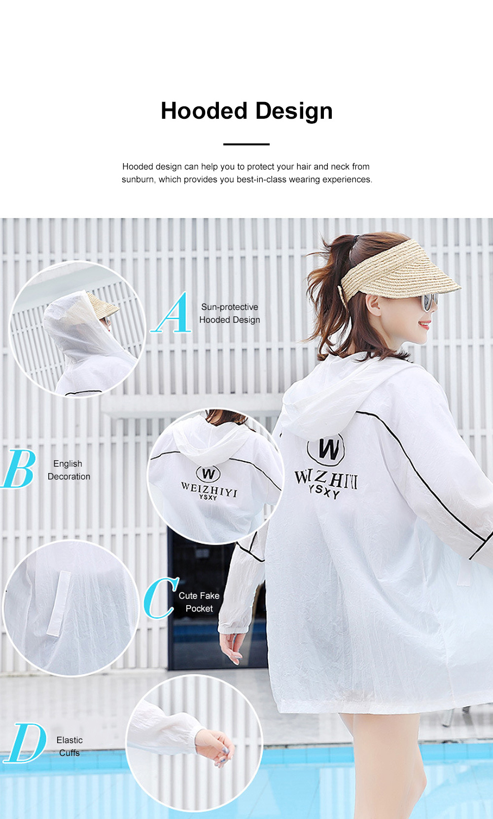 Stylish English Decoration Ultra-thin Sun-protective Clothing, Ultraviolet-Proof Quick Dry Outdoors Coat for Ladies 5