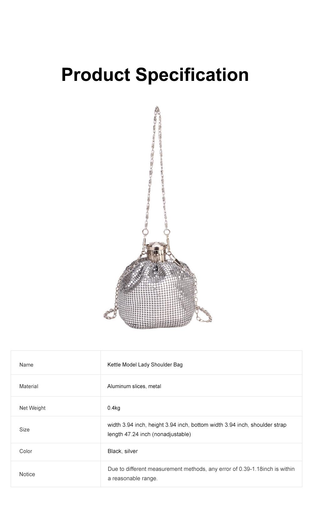 Creative Shiny Aluminum Slices Kettle Model Lady Shoulder Bag, Fashion Stylish Wine Pot Jar Hand Bag for Women 5