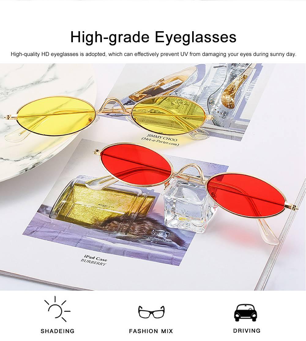 Stylish Individual Oval Model Frame Unisex Sunglasses Sunlight UV Protection Eyeglasses for Women Men 1