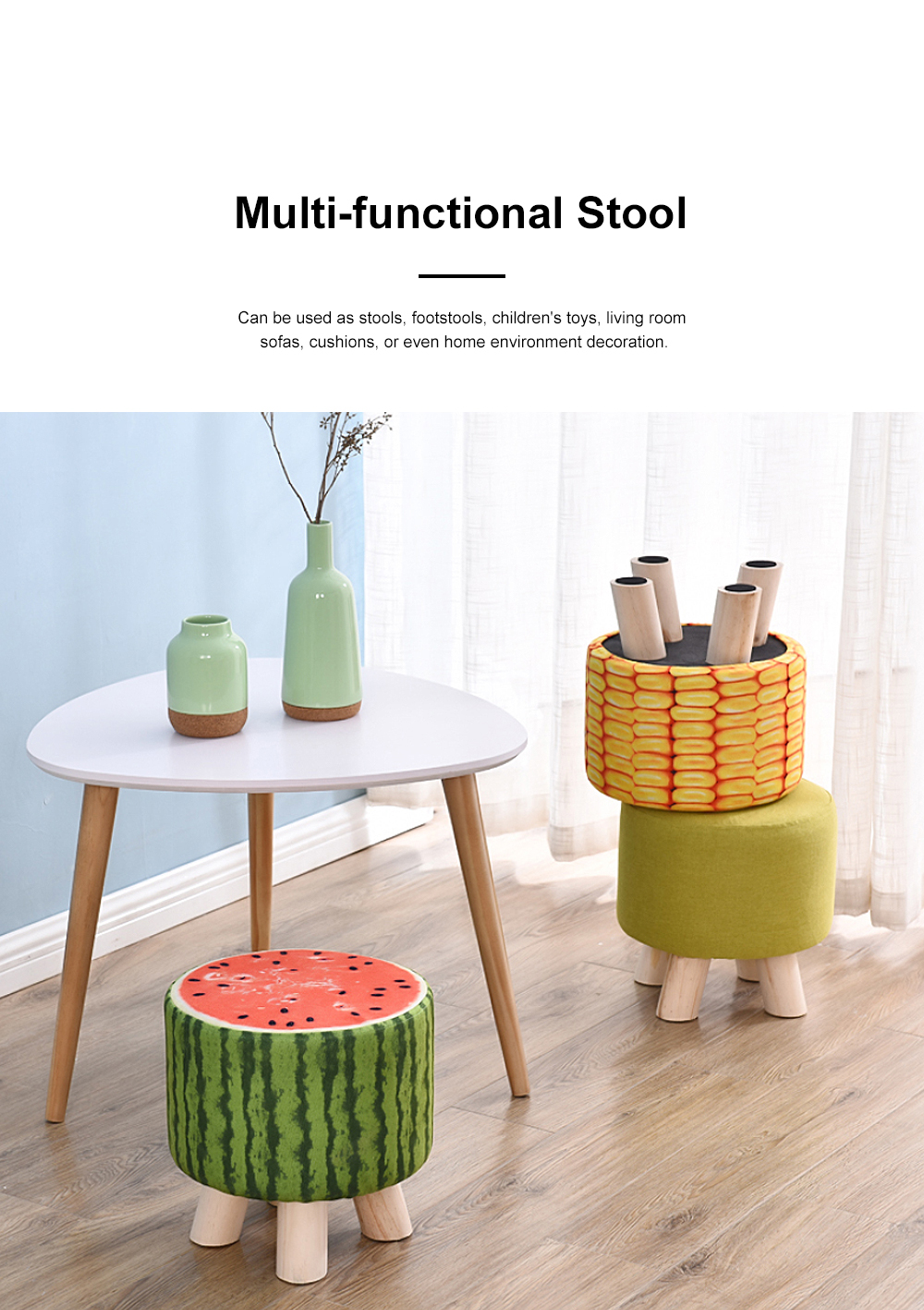 Solid Wood Footstool Ottoman with Four Wooden Legs and Removable Linen Cover Decorative Stool for Home Use 4