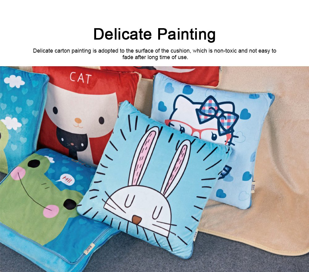 Cute Carton Painting Amphibious Dual-purpose Multifunctional Coral Fleece Blanket Office Car Waist Protection Cushion 4