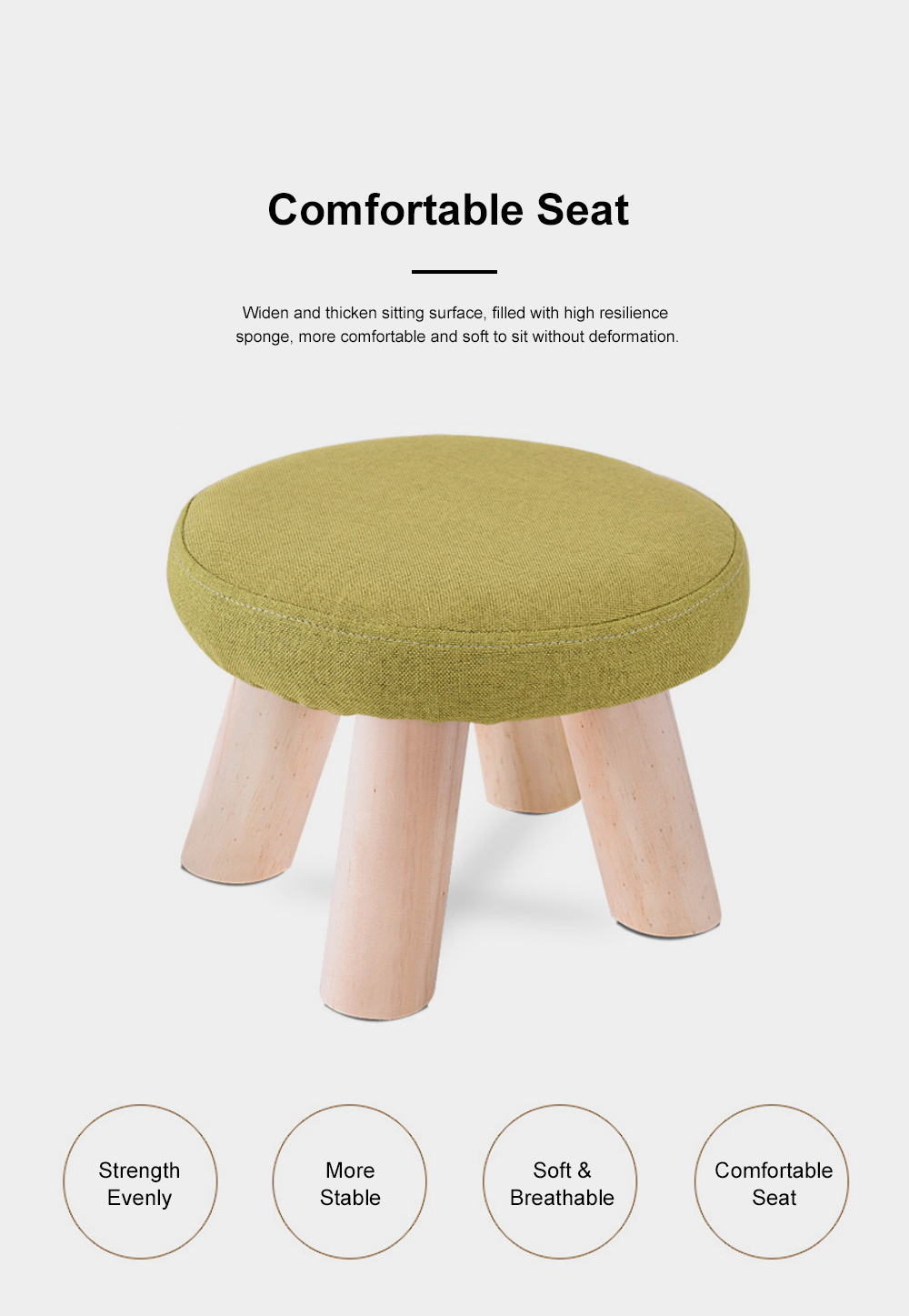 Simple Fruit Patterns Footstool with Solid Wooden Legs Small Round Fabric Ottoman for Home Decoration 6