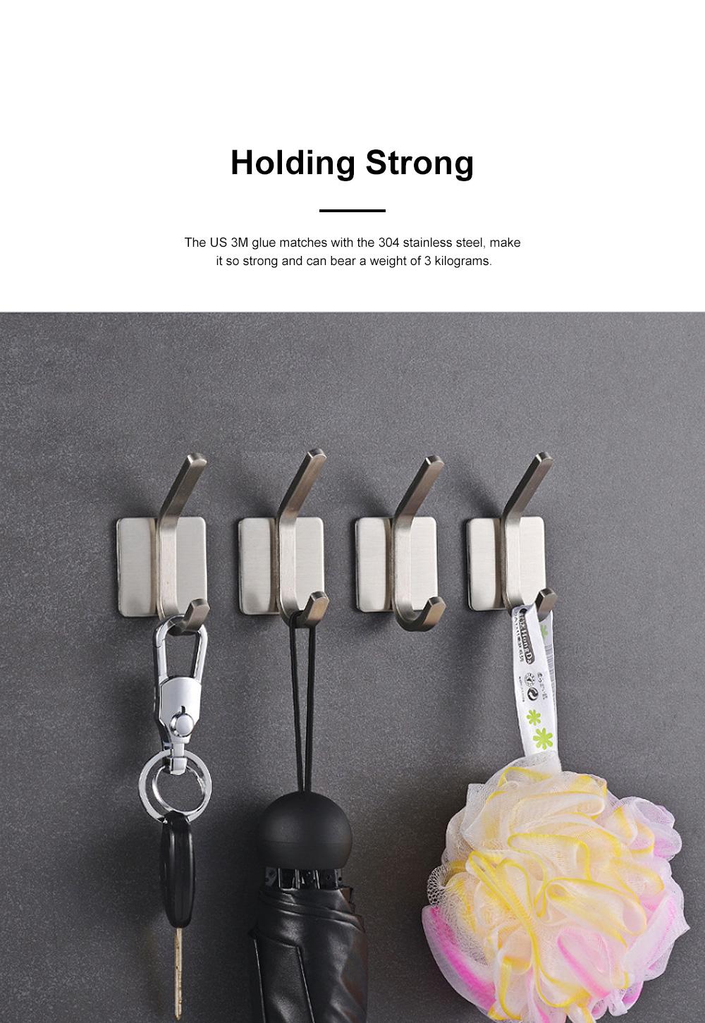 3M Glue Long Tail Hooks for Kitchen Bathroom Bedroom Hanging Waterproof 304 Stainless Steel Wall Hooks 1