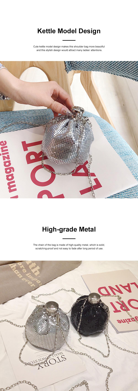 Creative Shiny Aluminum Slices Kettle Model Lady Shoulder Bag, Fashion Stylish Wine Pot Jar Hand Bag for Women 2