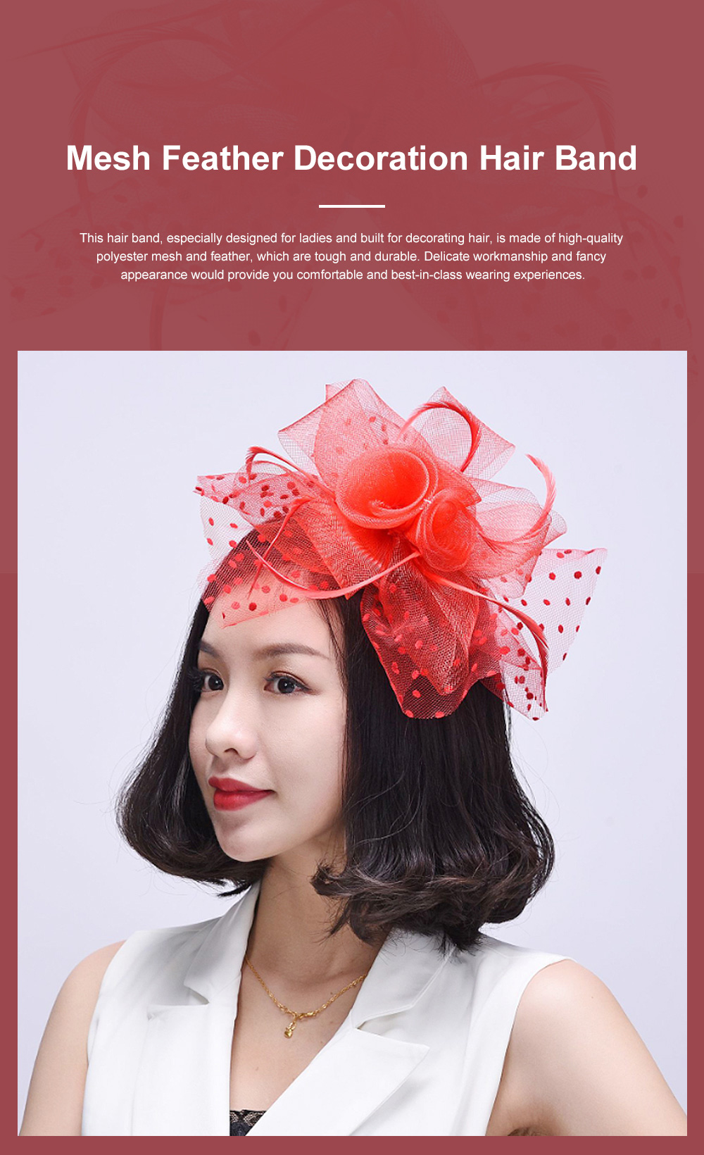 Fancy Flower Model Mesh Feather Decoration Hair Band, Delicate Evening Party Ladies Hair Decoration Ornament 0