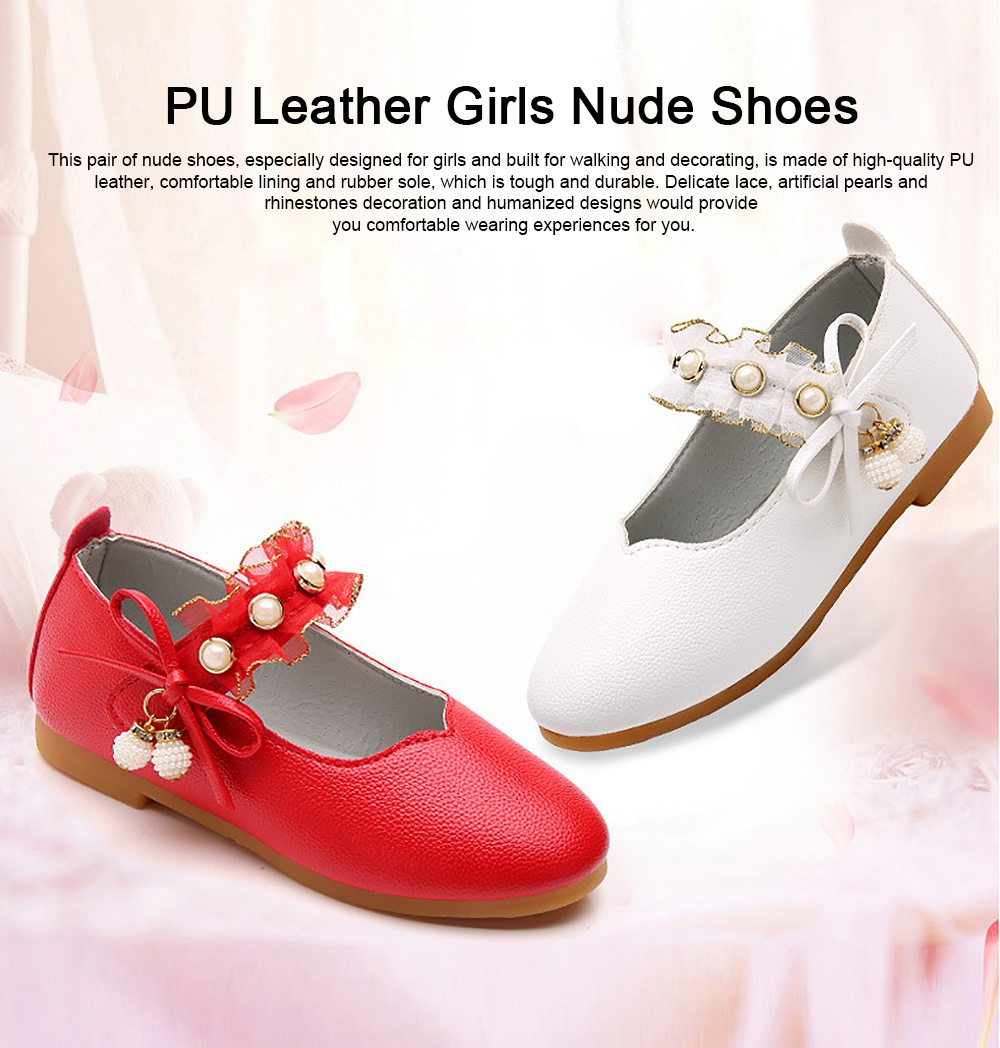 Cute Beautiful Lace Artificial Pearls Rhinestone Decorative Round Head Children Girls Soft PU Leather Nude Shoes with Magic Tape 0