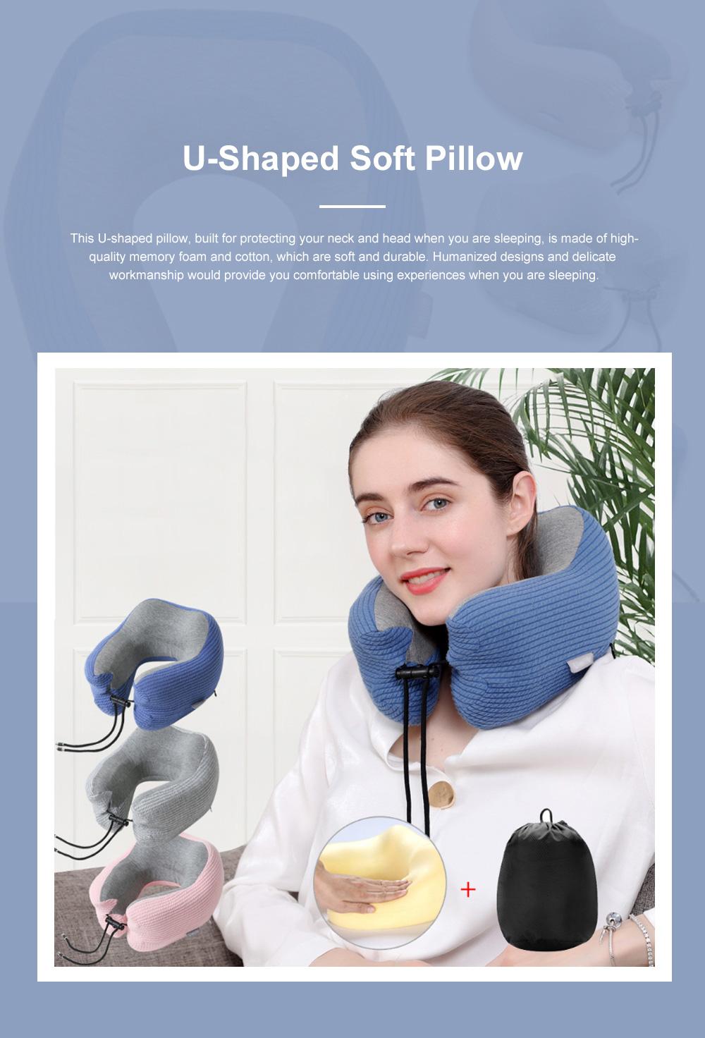 Slow Rebound Memory Foam U-Shaped Soft Pillow, Functional Office School Noon Break Pillow with Adjustable String Buckle 0