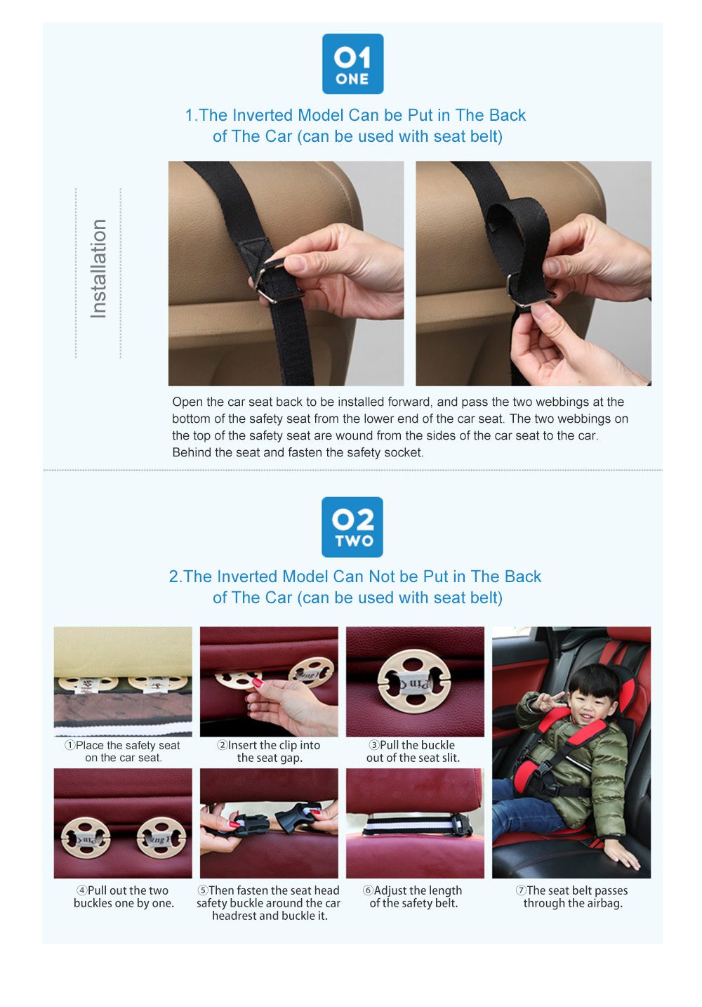 Simple Installation Comfortable Child Safety Seat, Foldable Soft Car Safety Seat for Kids with Five-point Buckle 7