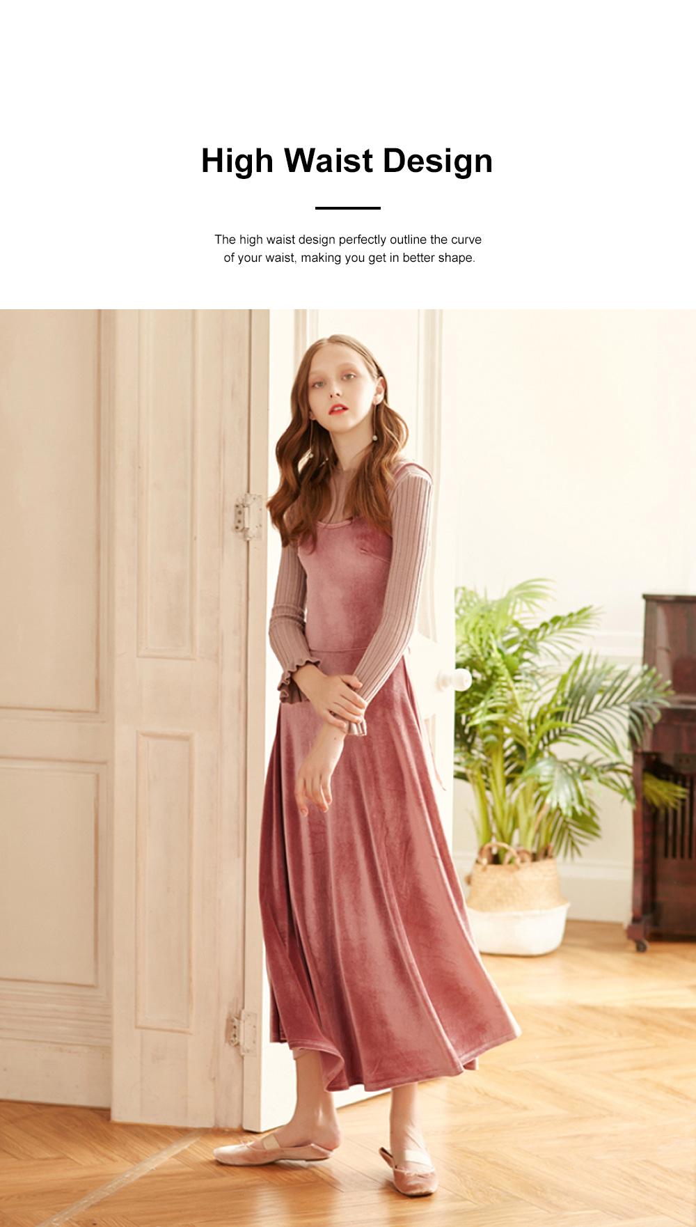 Women's Overall Suspender Dress Velvet Classic Retro Style with High Waist and Back Strap Ankle Length Bottoming Vest Skirt 3