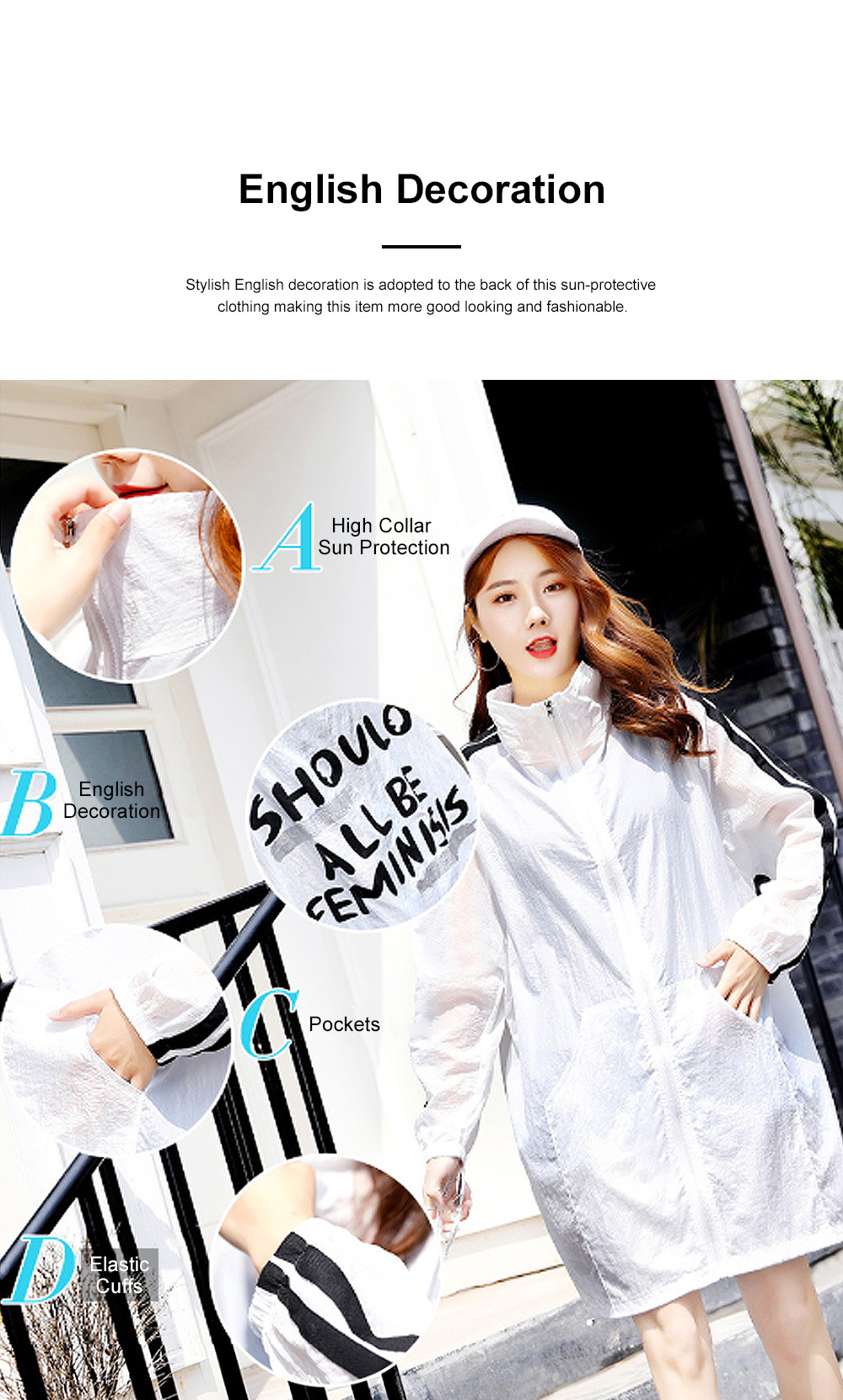 Stylish English Decoration Ultra-thin Sun-protective Clothing, Ultraviolet-Proof Quick Dry Outdoors Coat for Ladies 2