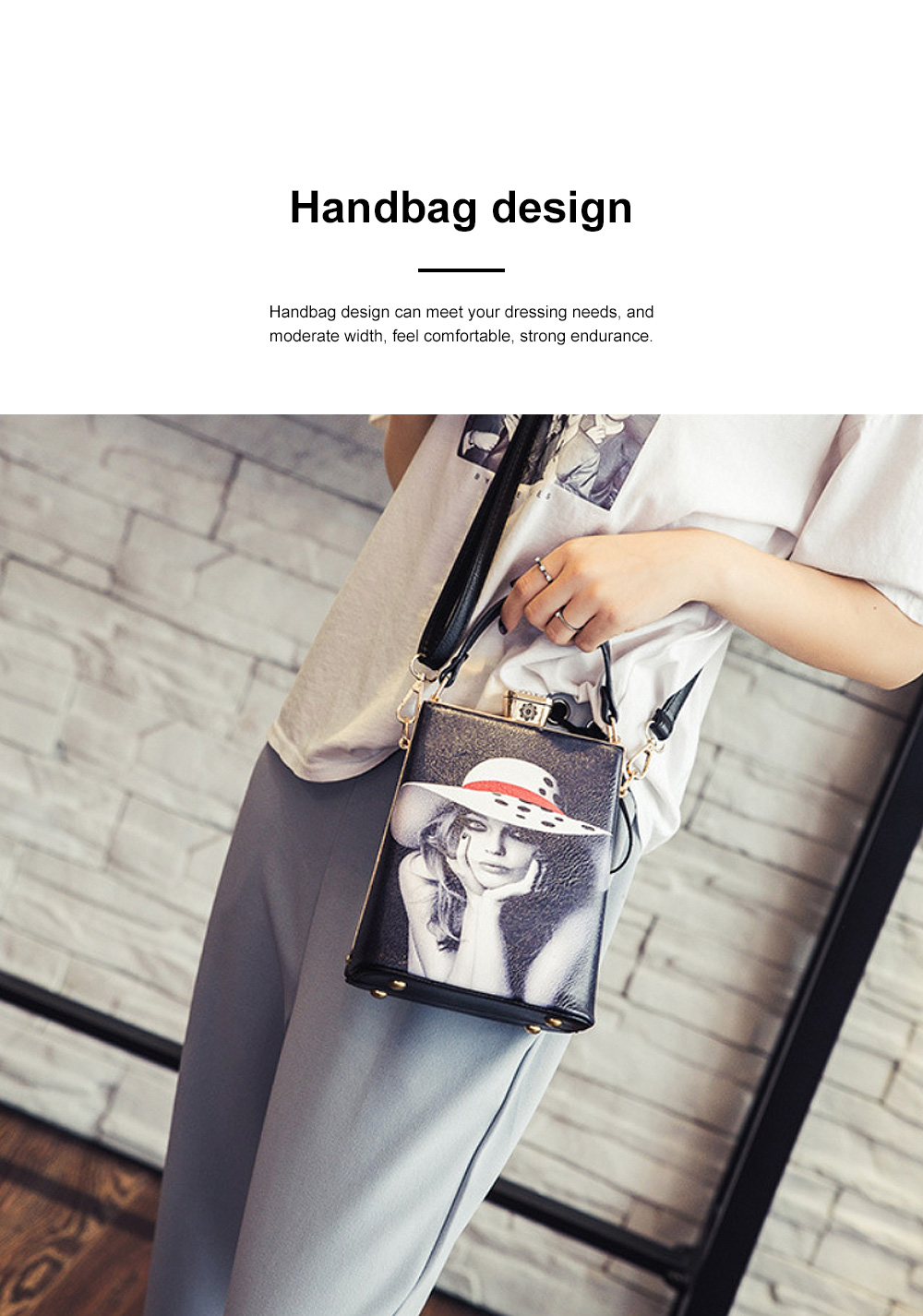 Fashion Painting Small Women Shoulder Bag with Comfortable Handle, Quality Smooth PU Leather Lady Bag 1