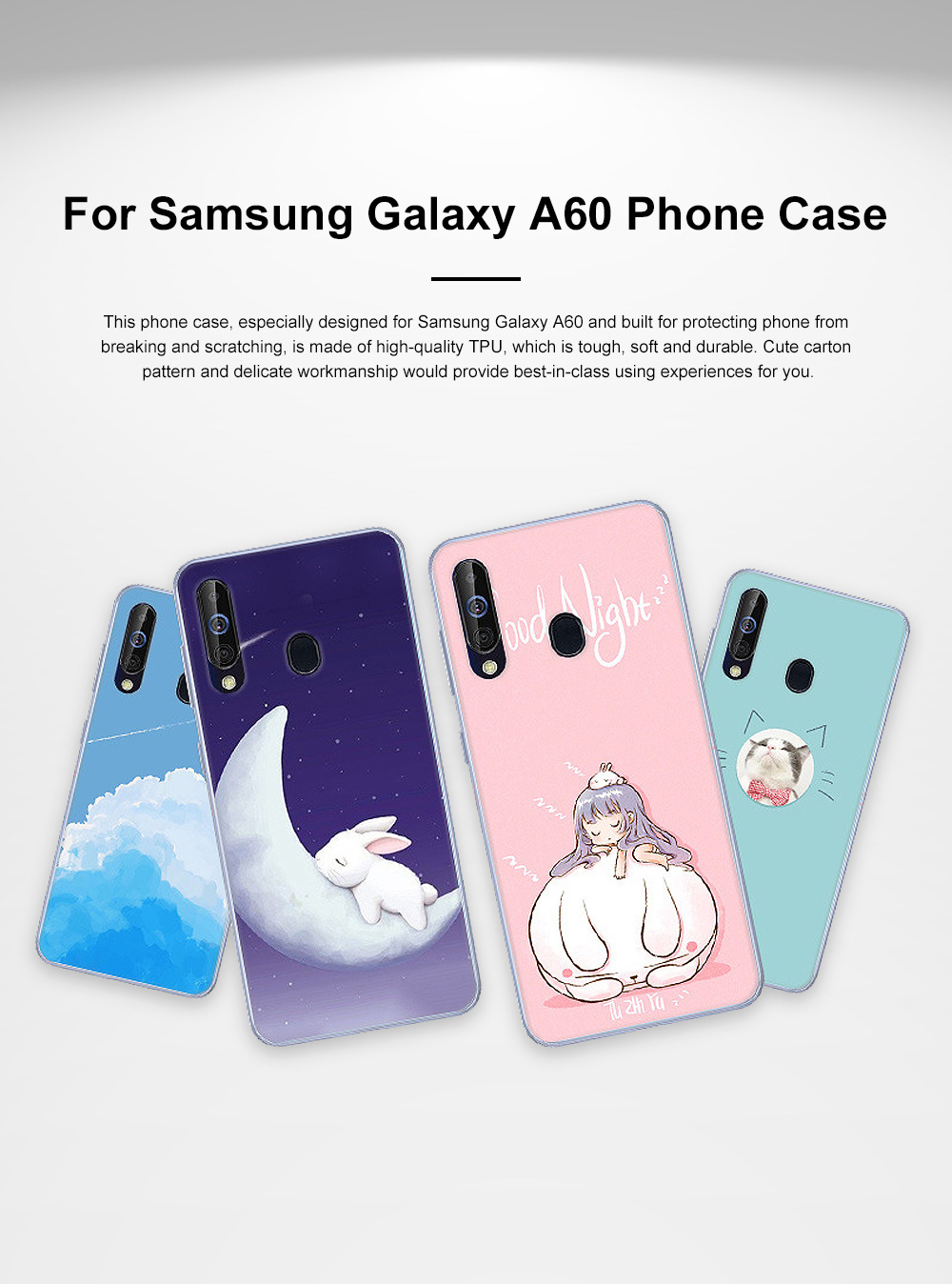 Cute Stylish Cartoon Painting Samsung Galaxy A60 Phone Case, Soft Flexible Breaking-proof TPU Samsung Phone Protective Cover 0