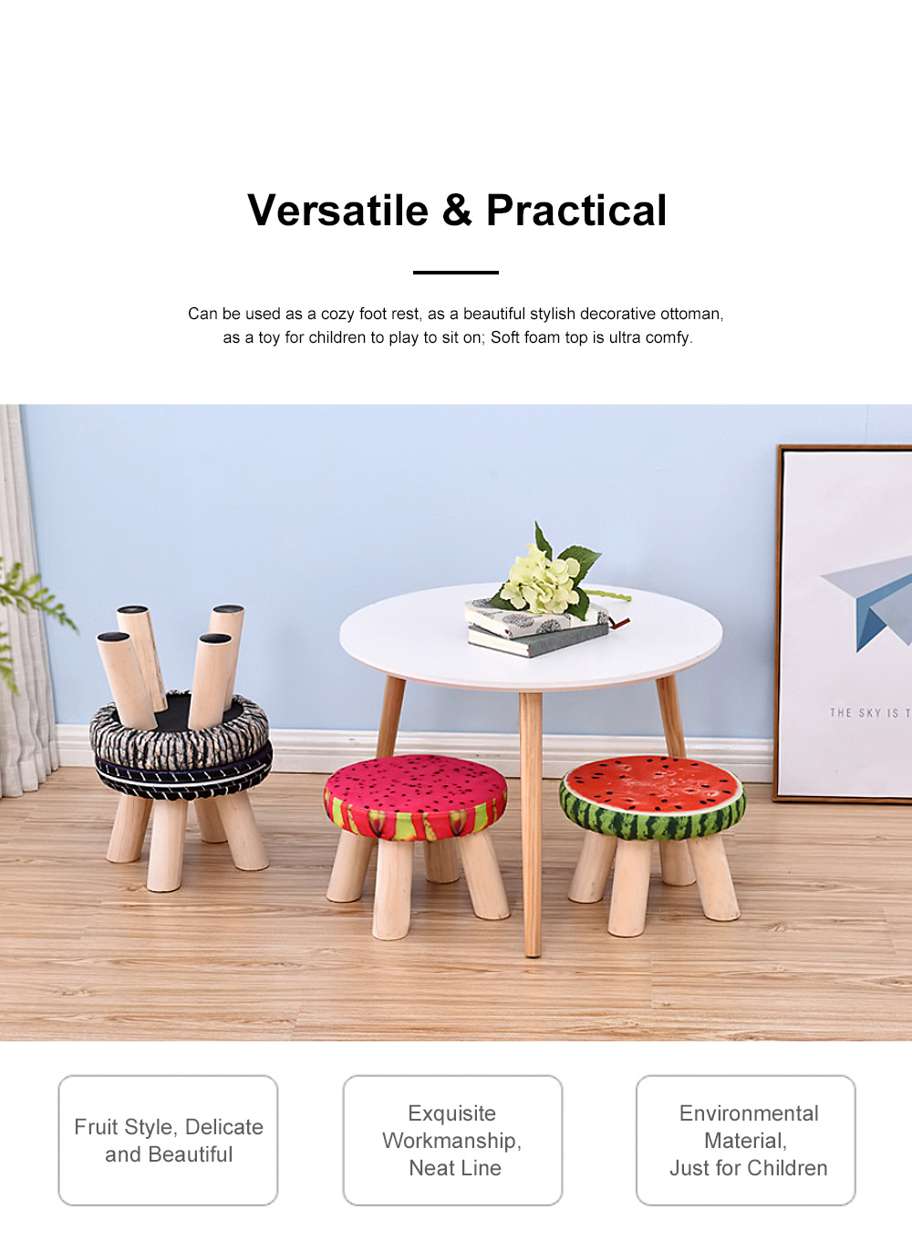 Simple Fruit Patterns Footstool with Solid Wooden Legs Small Round Fabric Ottoman for Home Decoration 5