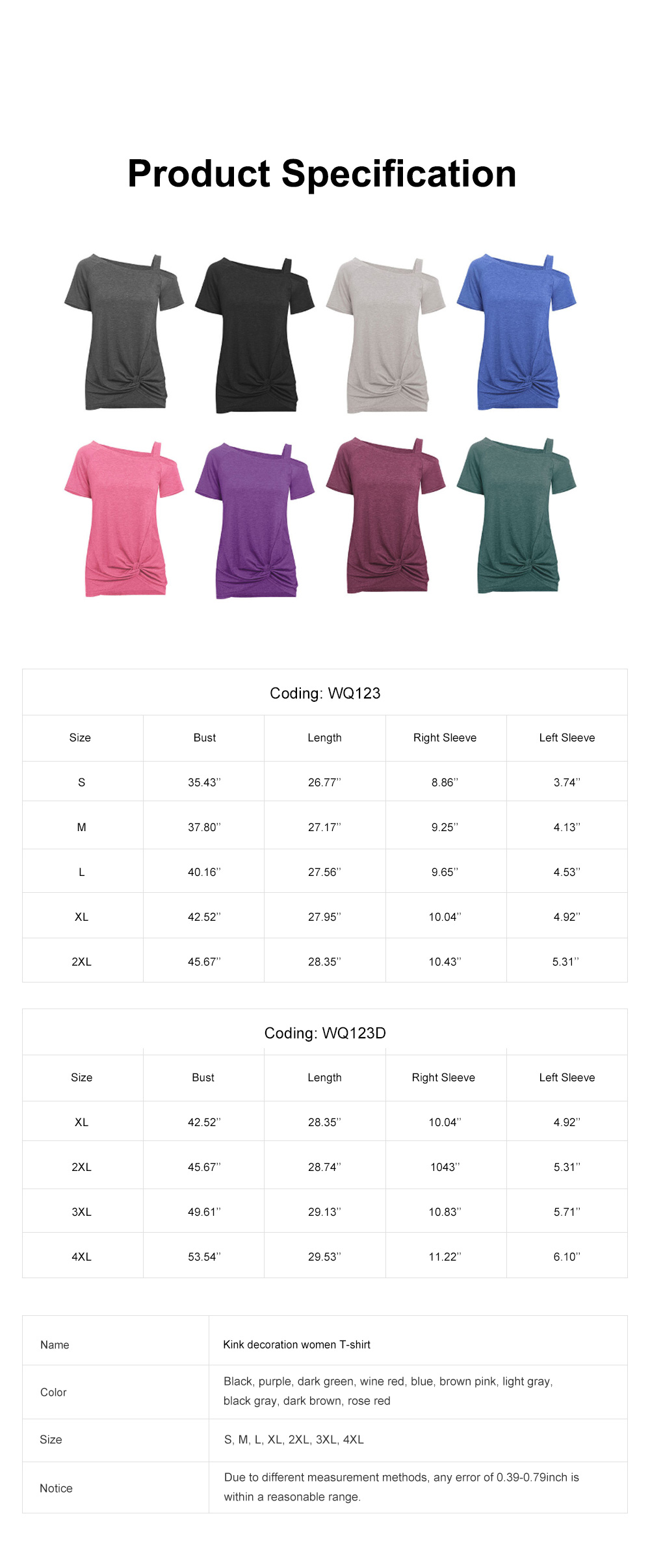 Minimalist Fashion Kink Decoration Off-Shoulder Women T-shirt, Ultra-soft Casual Pure Color Tops for Ladies 6