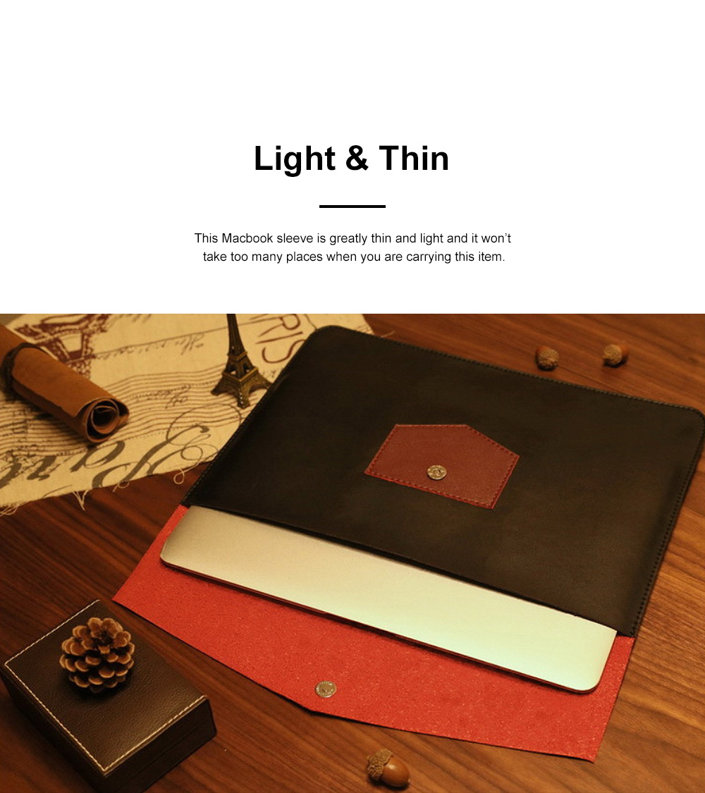 Minimalist Contrast Colored Bag for Mackbook 13.3 inch, Ulta-soft Microfiber Leather Laptop Protective Cover 2