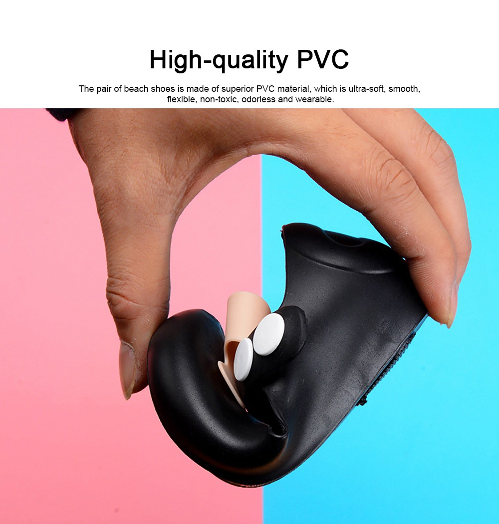 Cute Stylish Bowknot Decorative Soft Flexible PVC Rubber Children Girls Nude Beach Shoes with Snap Fastener 5