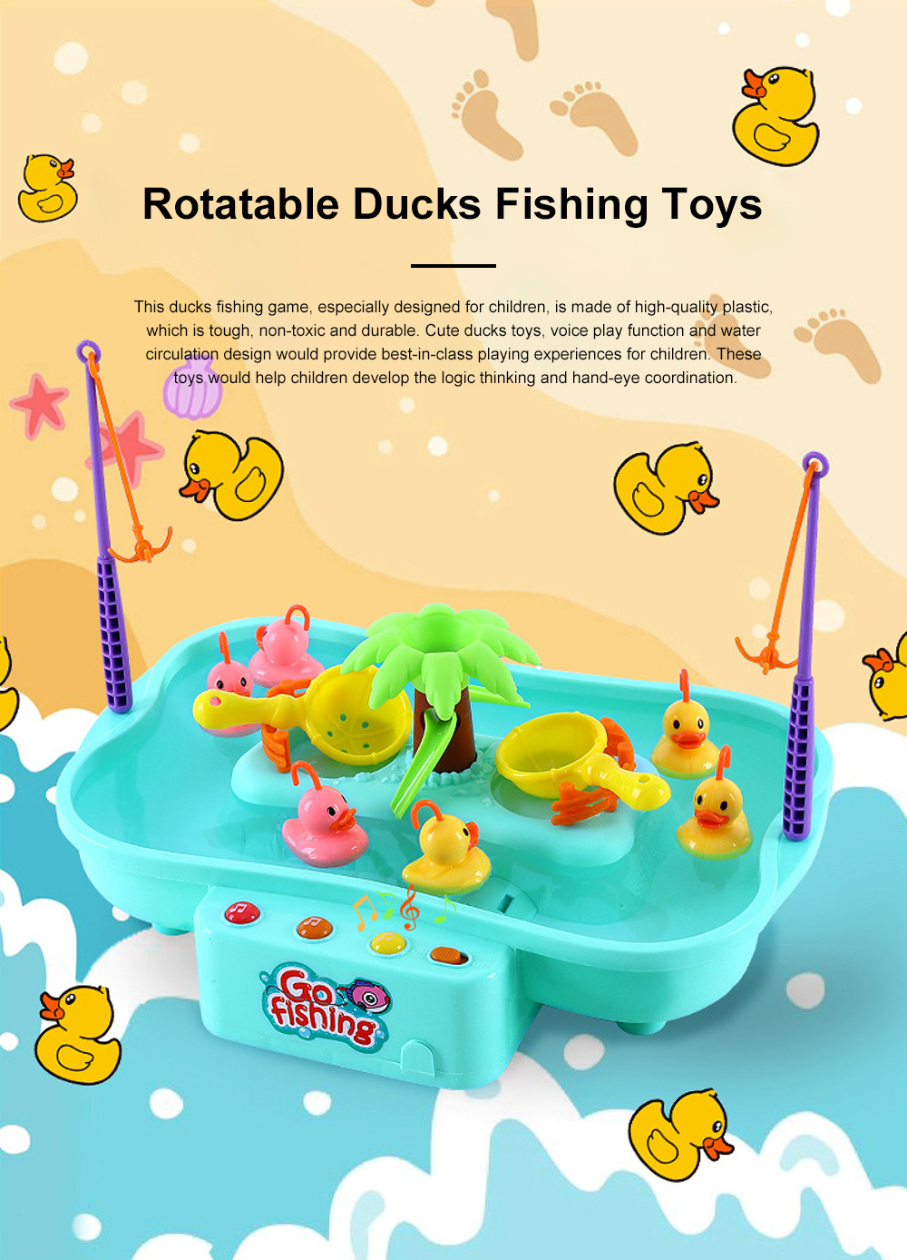 Rotation Ducks Toys Fishing Game with Music Play, Children Splashing Puzzle Game Parent-Children Interaction 0