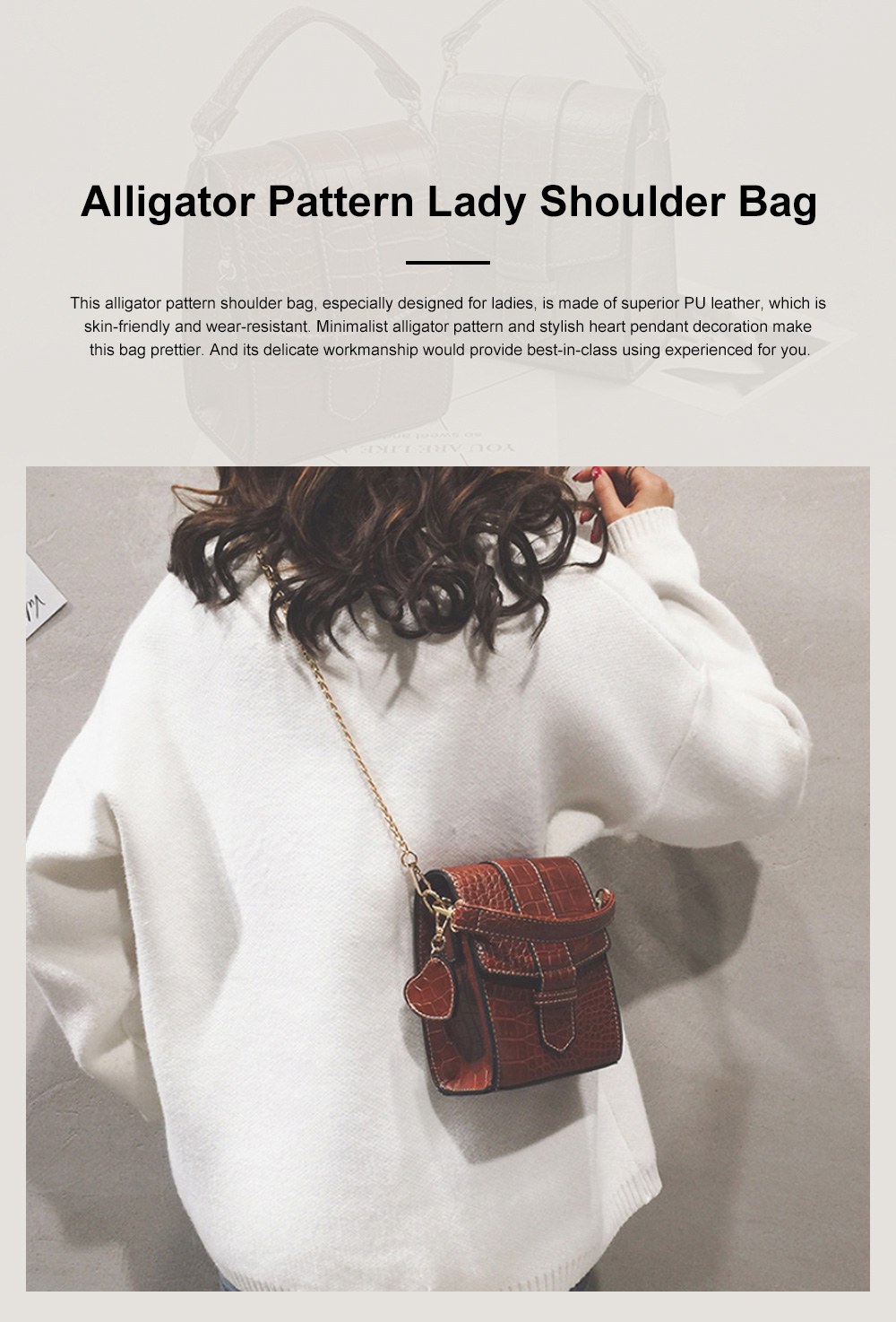 Minimalist Alligator Pattern Chain Lady Shoulder Bag, Skin-friendly PU Leather Small Handle Bag for Women 0