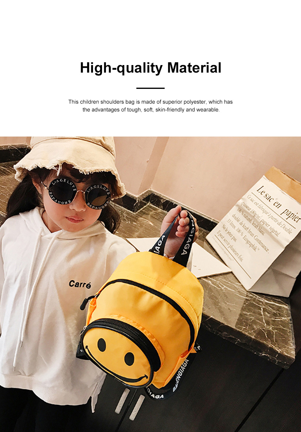 Cute Cartoon Smile Face Painting Children Backpack, Small Outdoors Traveling Shoulders Bag for Boys Girls 4