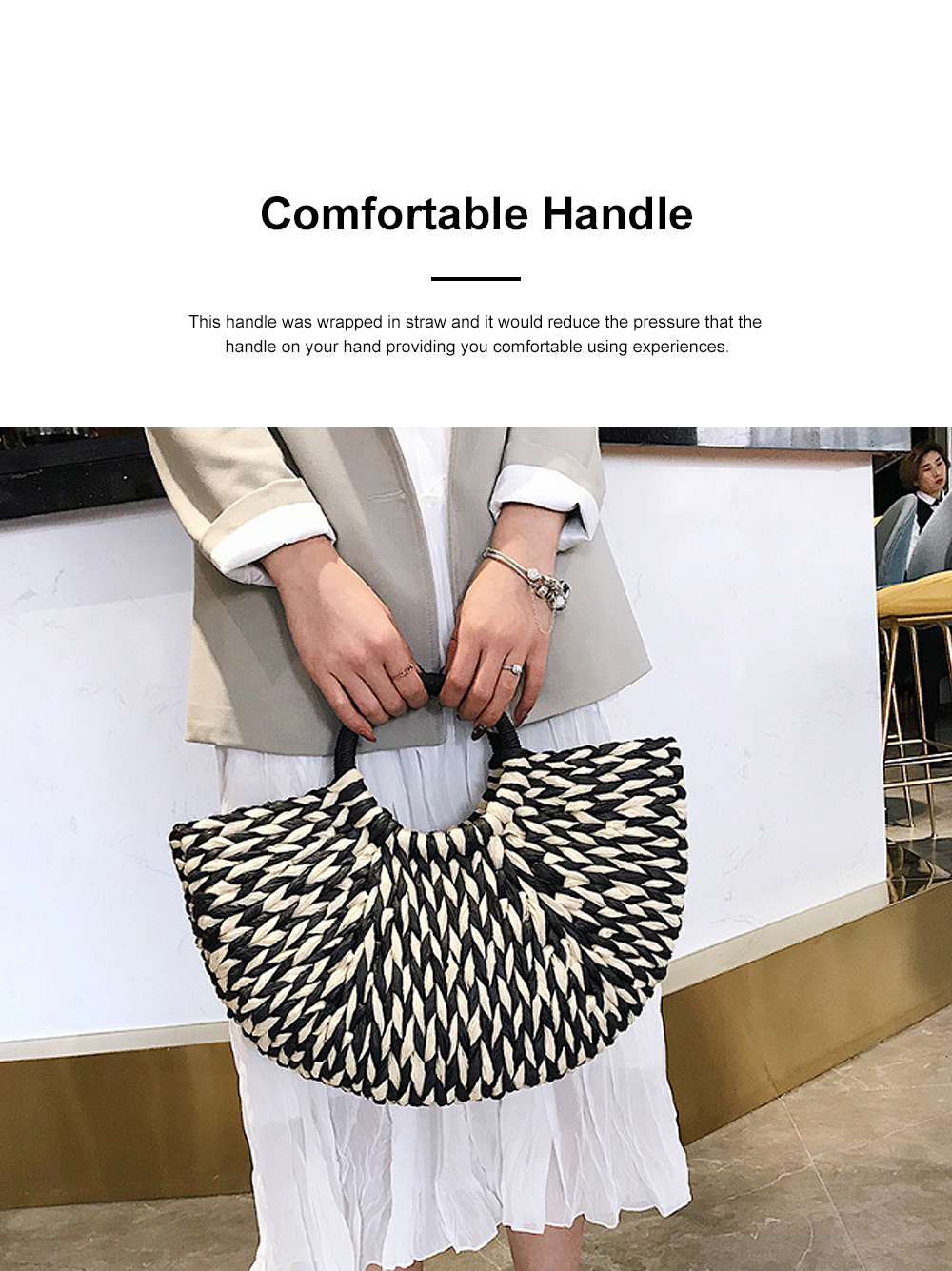 Fancy Elegant Contrast Colored Lady Straw Hand Bag, Minimalist Arch Vacation Beach Hand Bag for Women 2