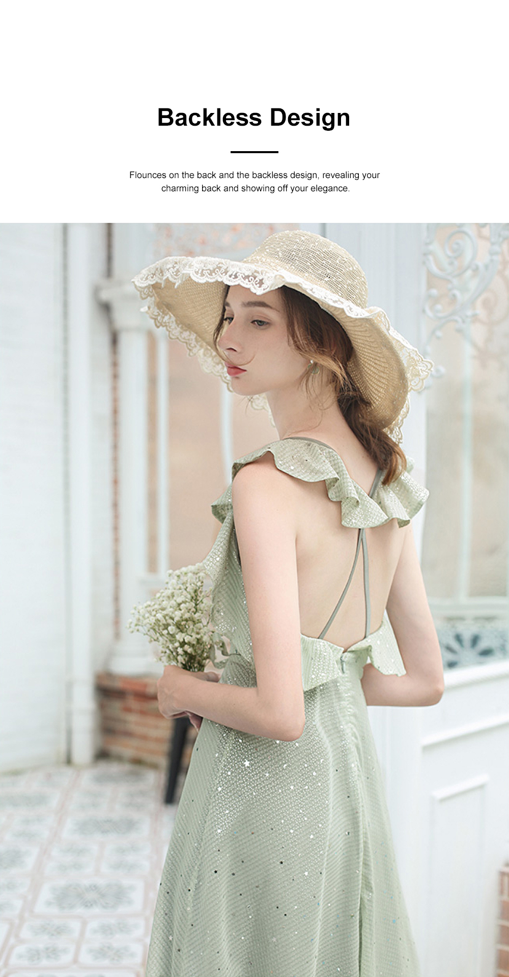 Long Chiffon Dress for 18-24 Years Girls Olive Green Backless Sequined Dress for Women Casual in Summer 3