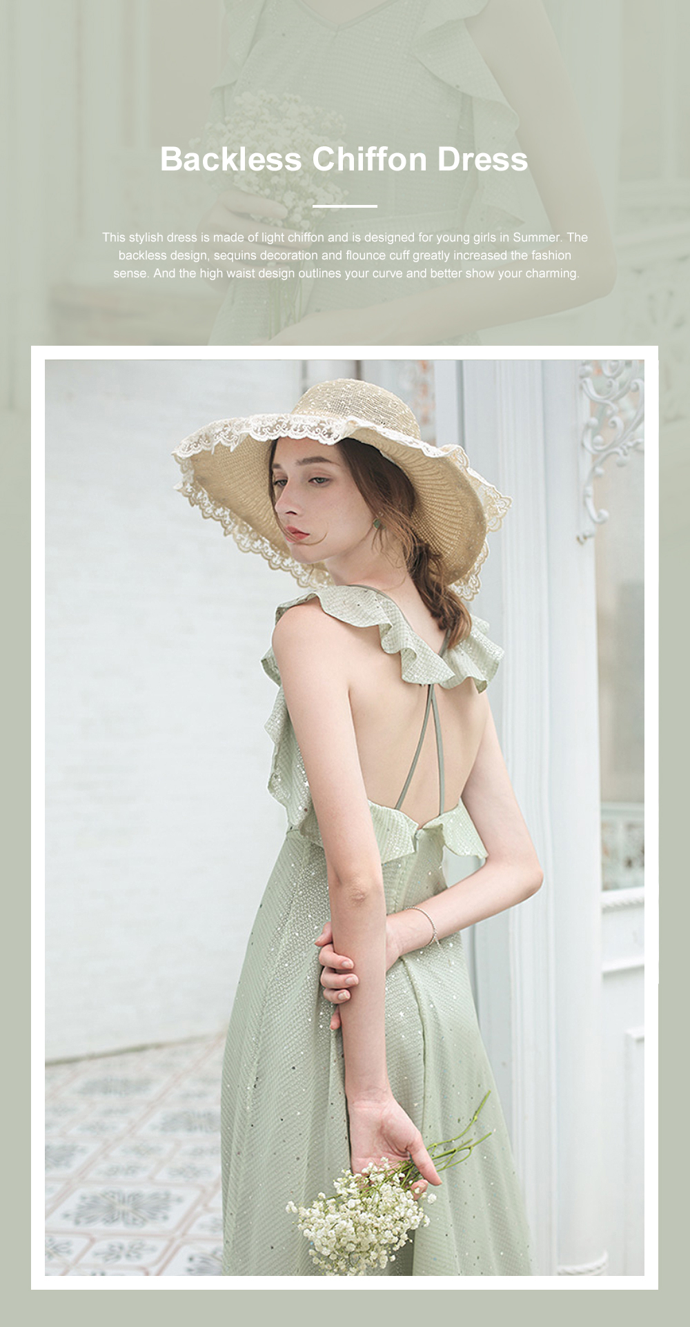 Long Chiffon Dress for 18-24 Years Girls Olive Green Backless Sequined Dress for Women Casual in Summer 0