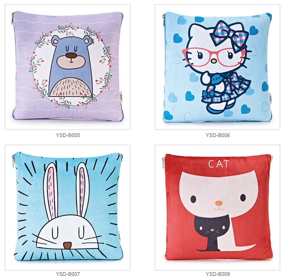 Cute Carton Painting Amphibious Dual-purpose Multifunctional Coral Fleece Blanket Office Car Waist Protection Cushion 8