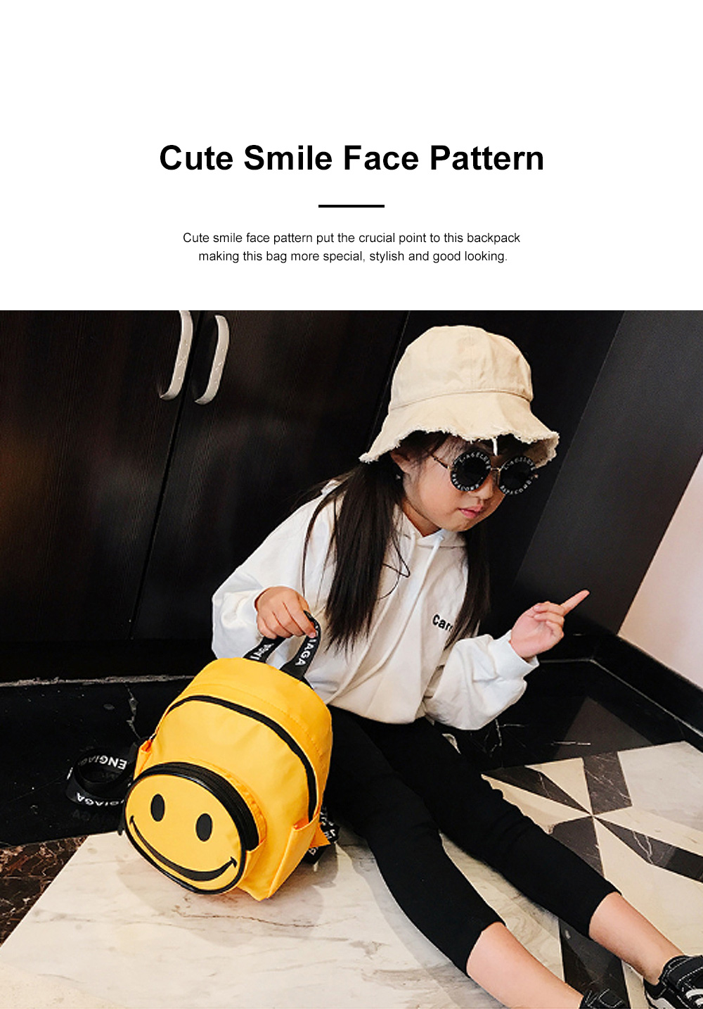 Cute Cartoon Smile Face Painting Children Backpack, Small Outdoors Traveling Shoulders Bag for Boys Girls 3