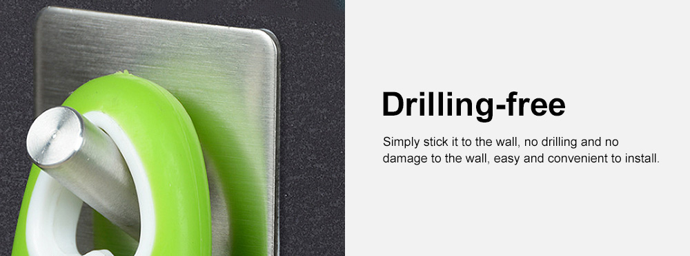 Stainless Steel Hooks for Hanging Kitchen Utensils and Clothes Drilling-free and Waterproof 3M Glue Wall Hooks 5