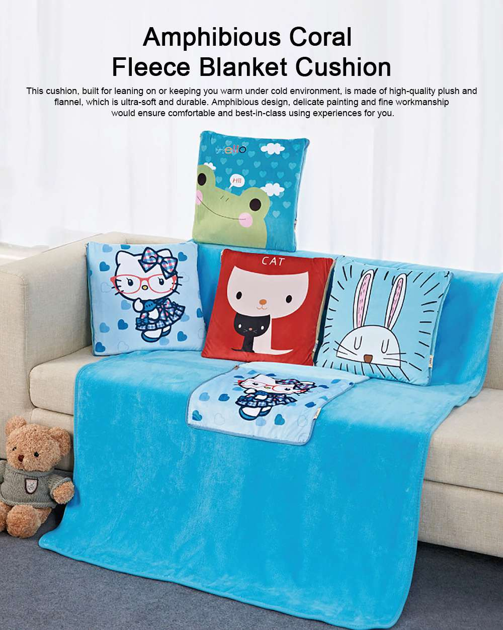 Cute Carton Painting Amphibious Dual-purpose Multifunctional Coral Fleece Blanket Office Car Waist Protection Cushion 0