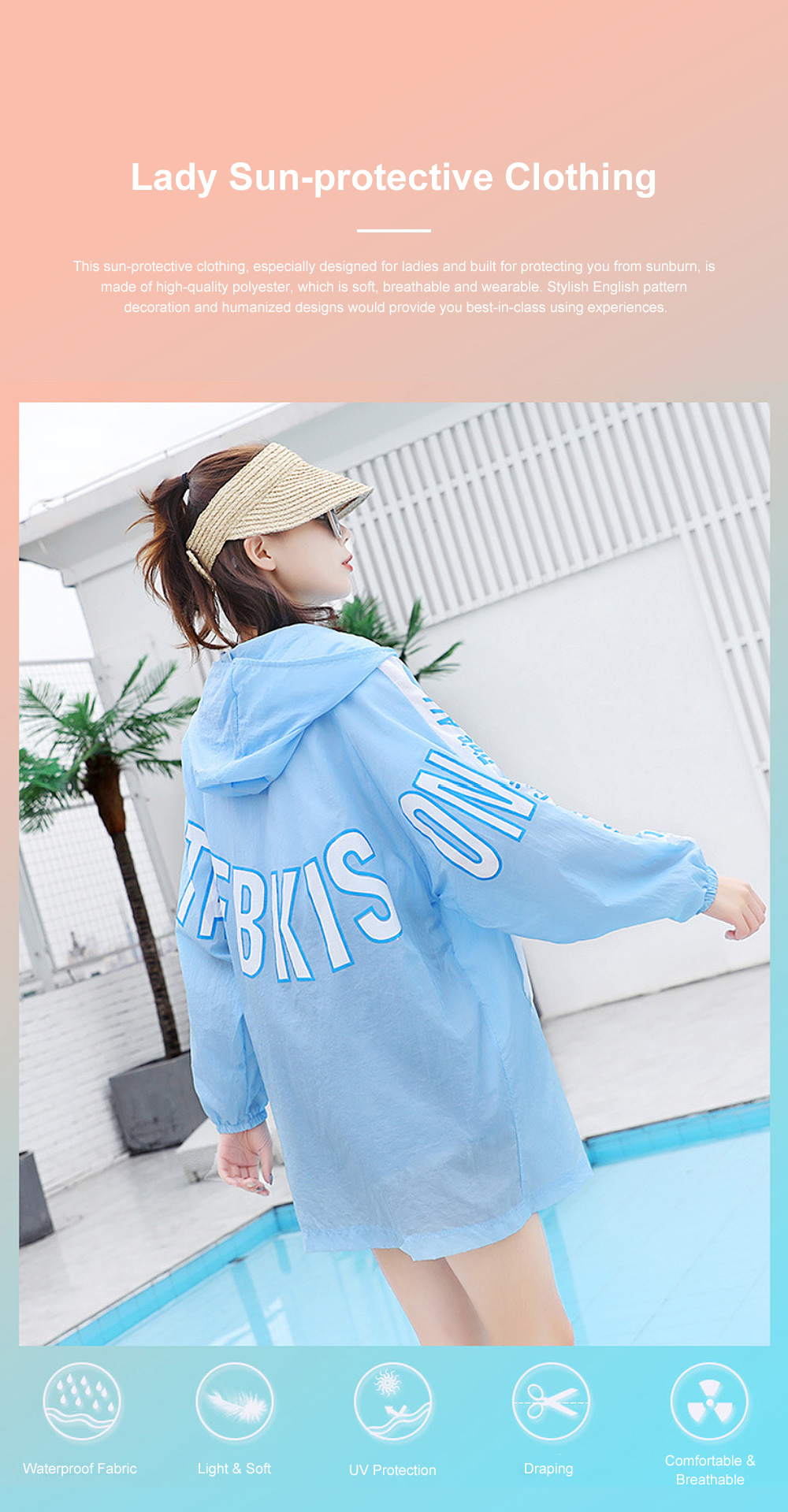 Stylish English Decoration Ultra-thin Sun-protective Clothing, Ultraviolet-Proof Quick Dry Outdoors Coat for Ladies 0