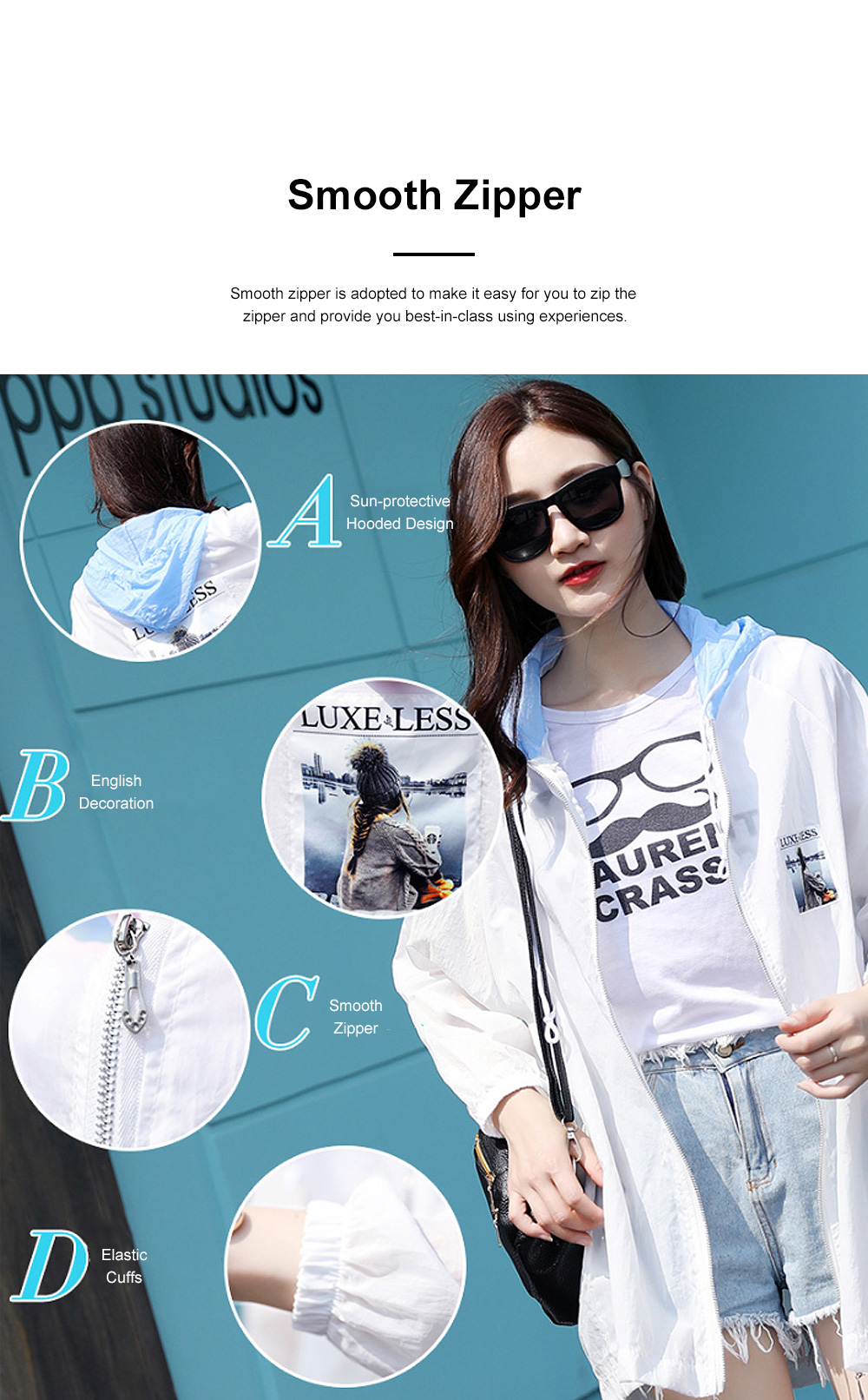 Stylish English Decoration Ultra-thin Sun-protective Clothing, Ultraviolet-Proof Quick Dry Outdoors Coat for Ladies 6