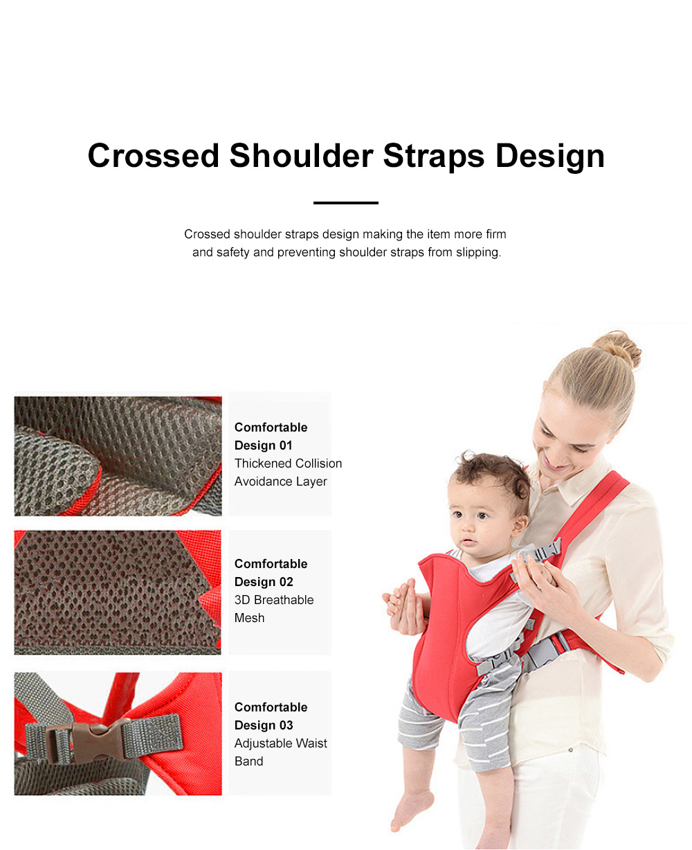 Multifunctional Breathable Newborn Baby Carrier, Adjustable Infant Front Sling Backpack with Safety Buckle 3