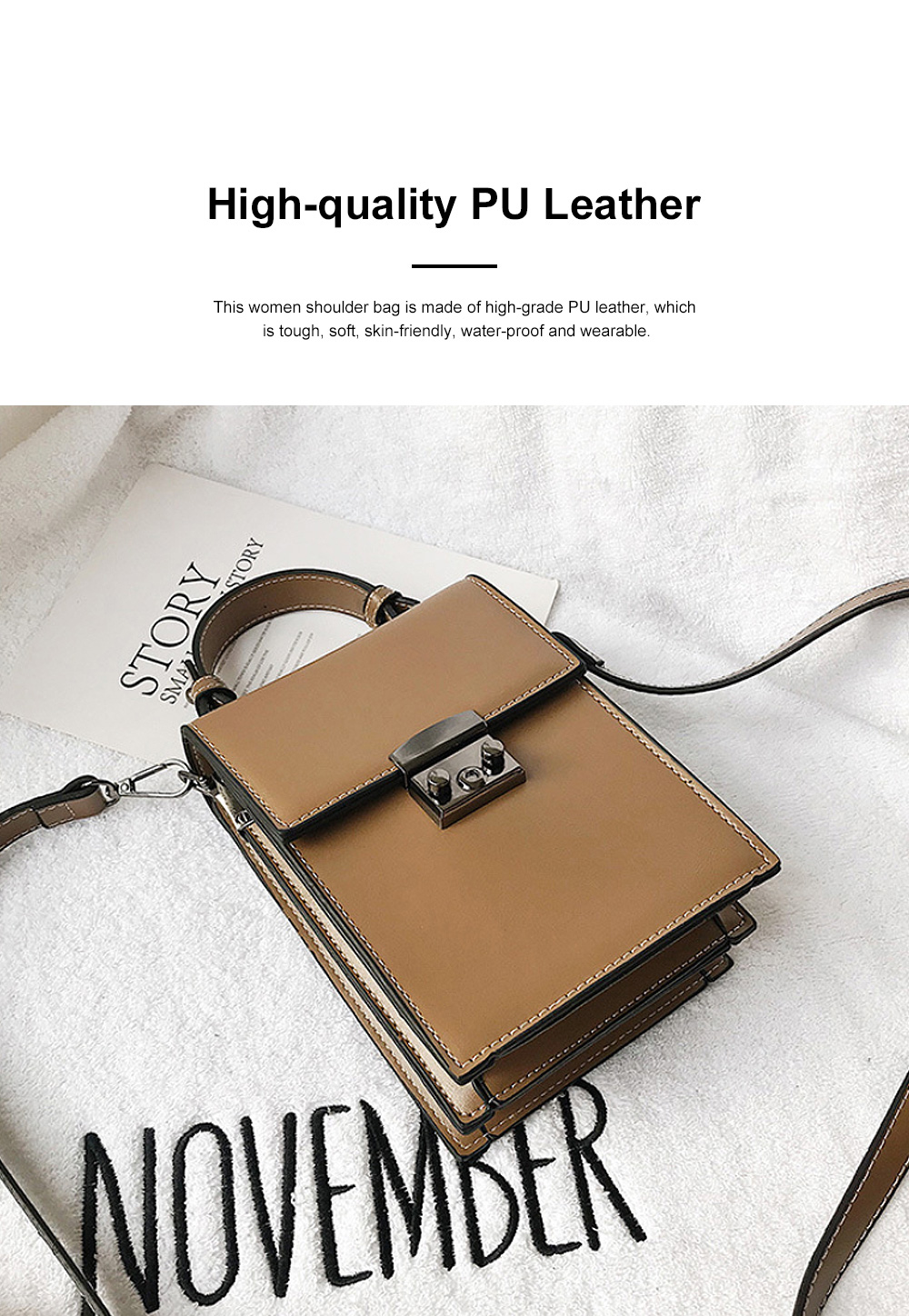 Minimalist Vintage Women Shoulder Slung Bag with Comfortable Handle Small Phone PU Leather Hand Bag for Ladies 3