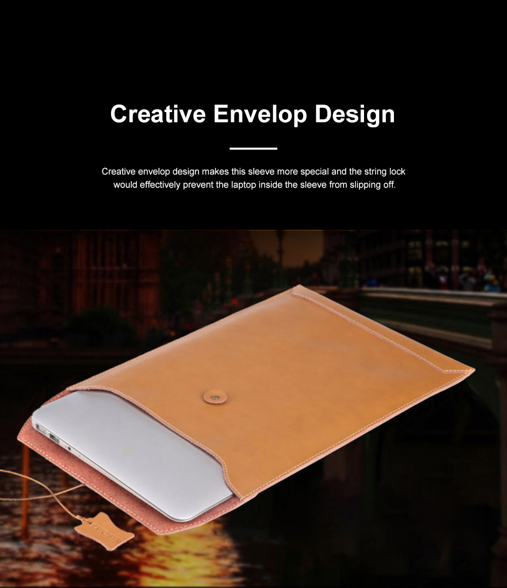 Soft Scratching-proof Leather Macbook Bag Pouch, Envelop Model Laptop Protective Cover for Macbook 11inch 12inch 13.3inch Air 15.4inch 4