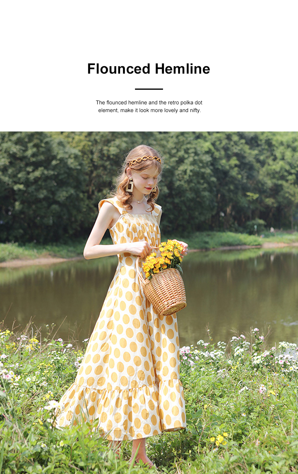 French Style Women's Casual Polka Dot Sleeveless Long Dress High Waist and Wide Boat Neck 1