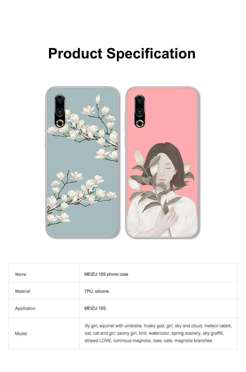 Fancy Cute Carton Painting MEIZU 16S Phone Case, Ultra-soft Silicone TPU MEIZU Creative Phone Protective Cover 6