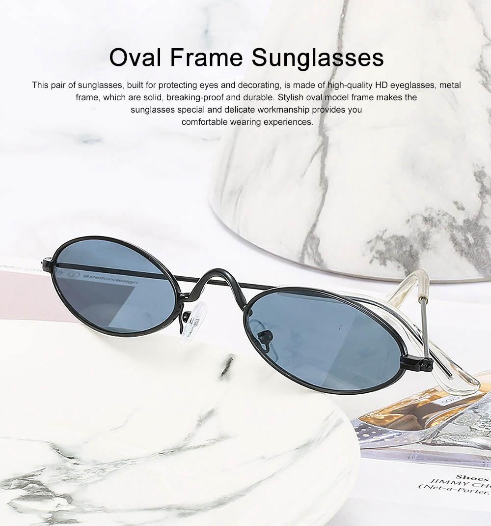 Stylish Individual Oval Model Frame Unisex Sunglasses Sunlight UV Protection Eyeglasses for Women Men 0